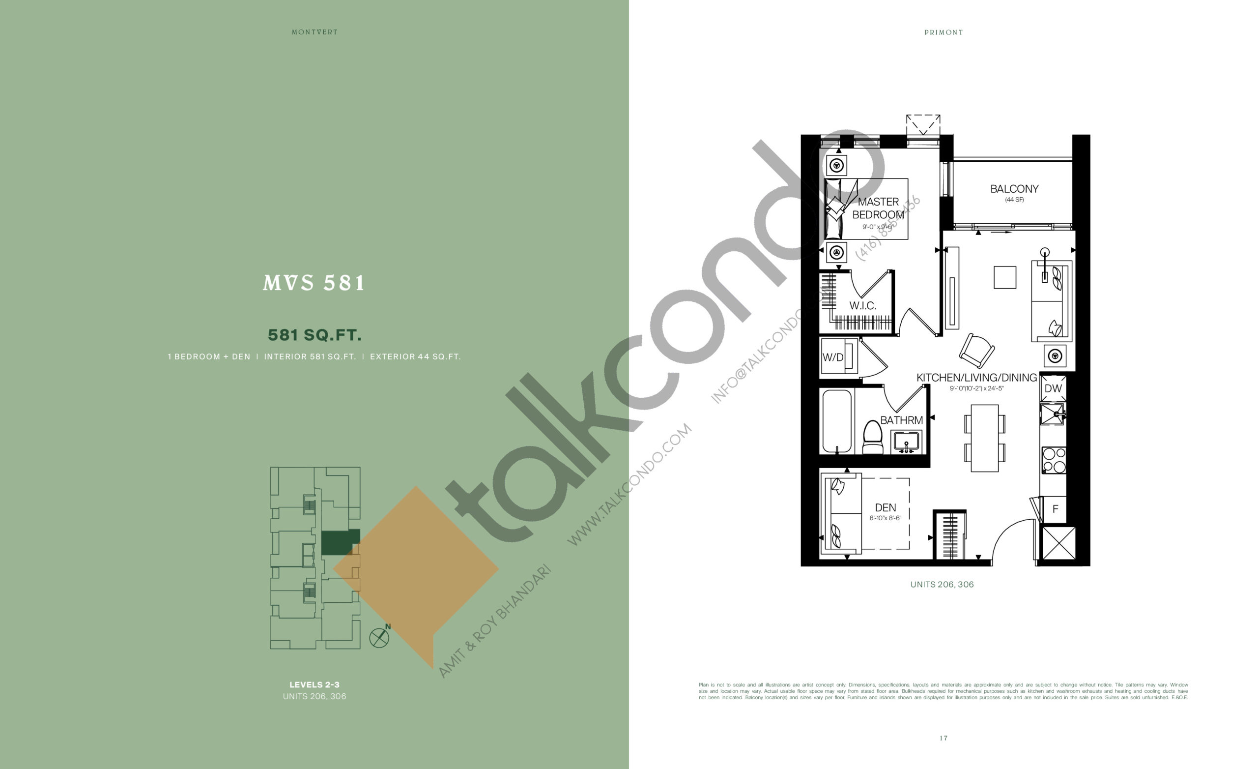 MVS 581 Floor Plan at MontVert Condos - 581 sq.ft