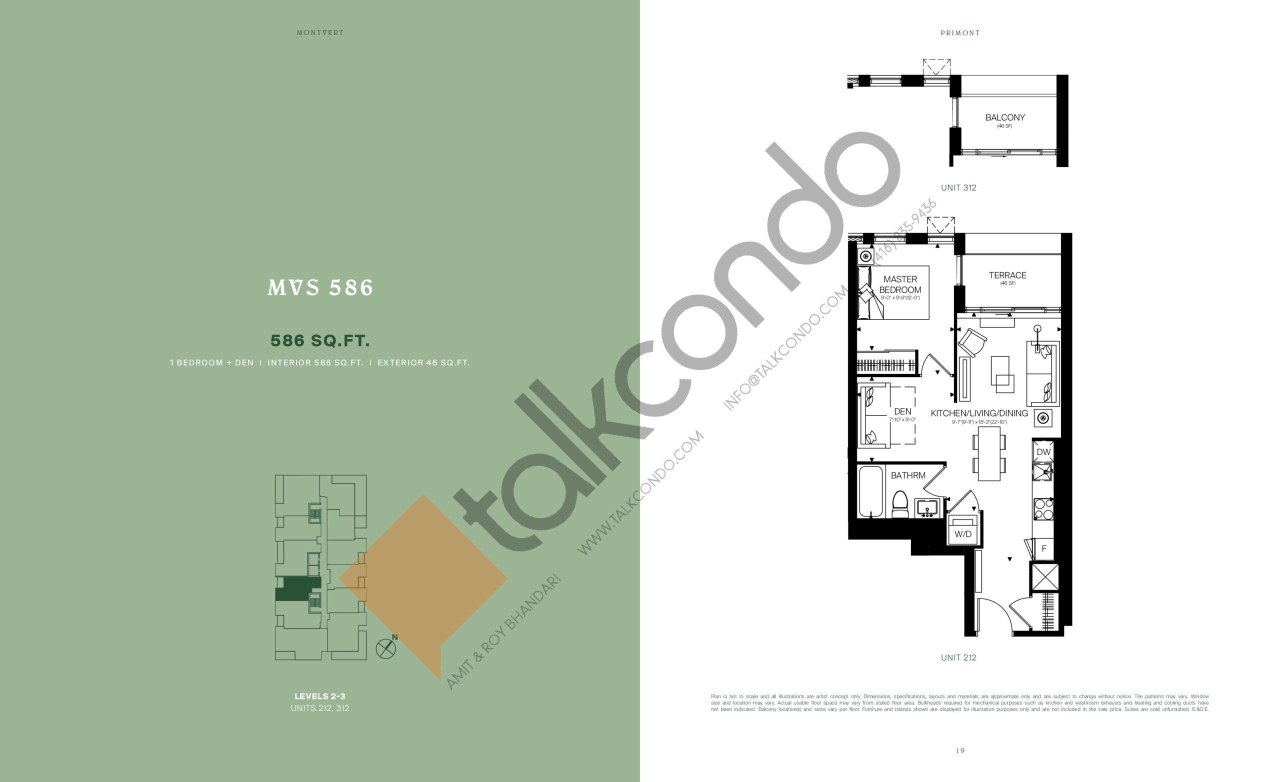 MVS 586 Floor Plan at MontVert Condos - 586 sq.ft
