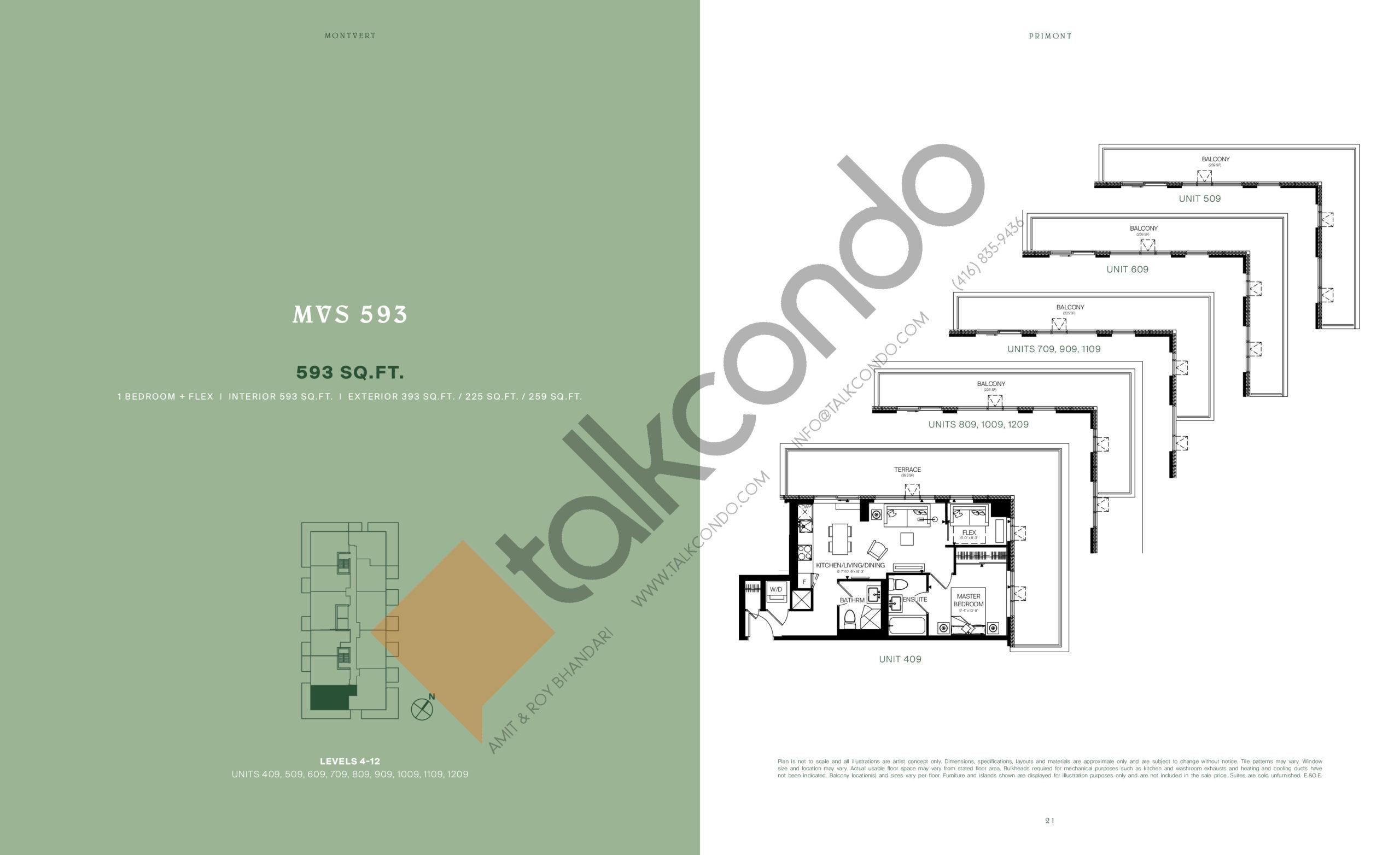 MVS 593 Floor Plan at MontVert Condos - 593 sq.ft