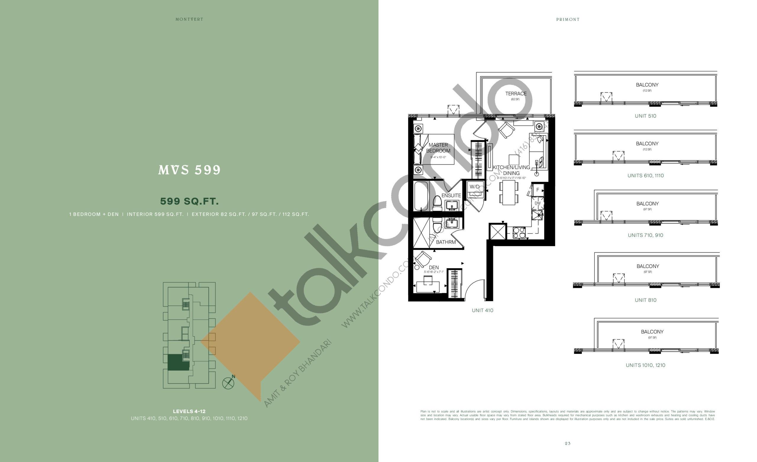 MVS 599 Floor Plan at MontVert Condos - 599 sq.ft