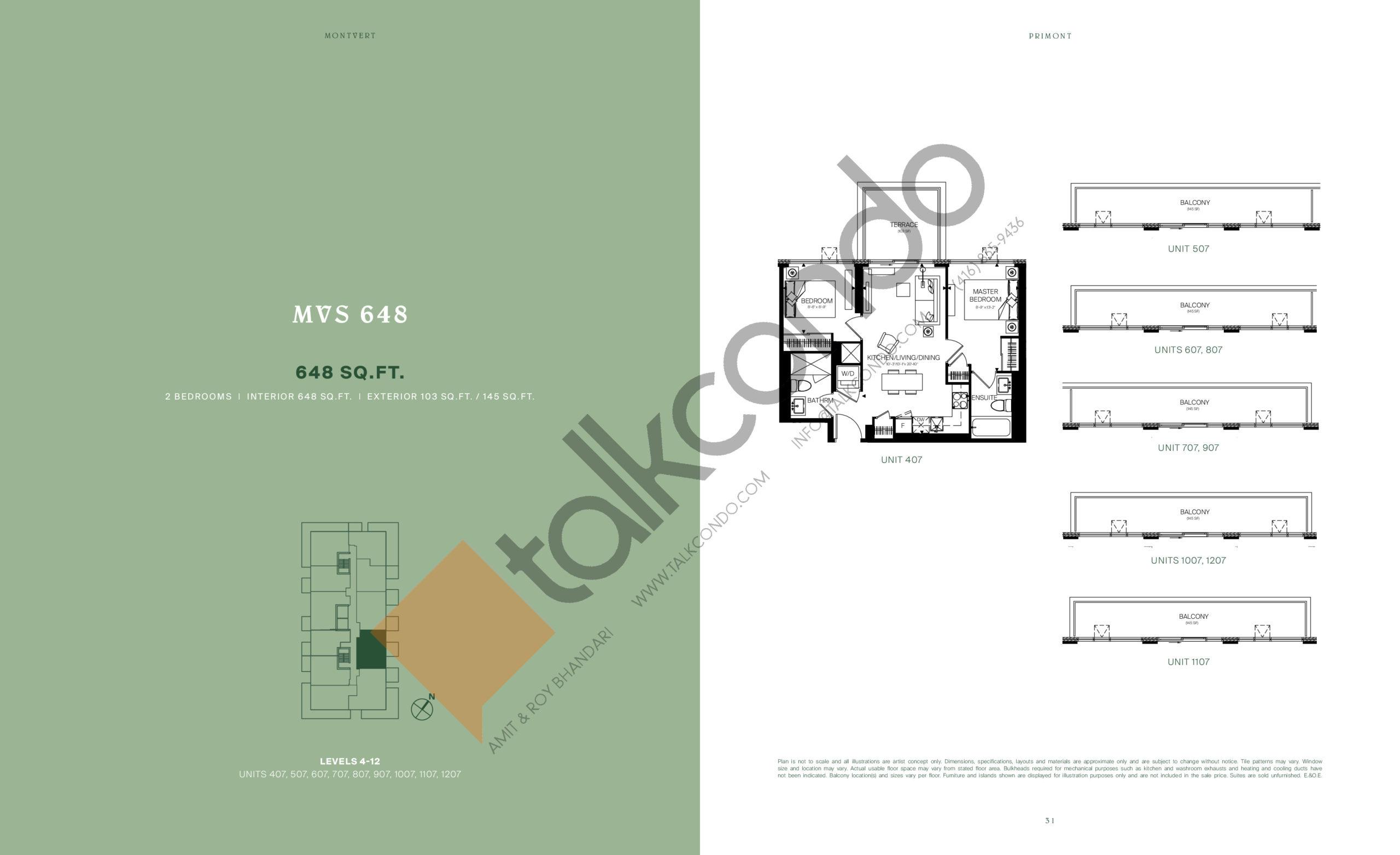 MVS 648 Floor Plan at MontVert Condos - 648 sq.ft