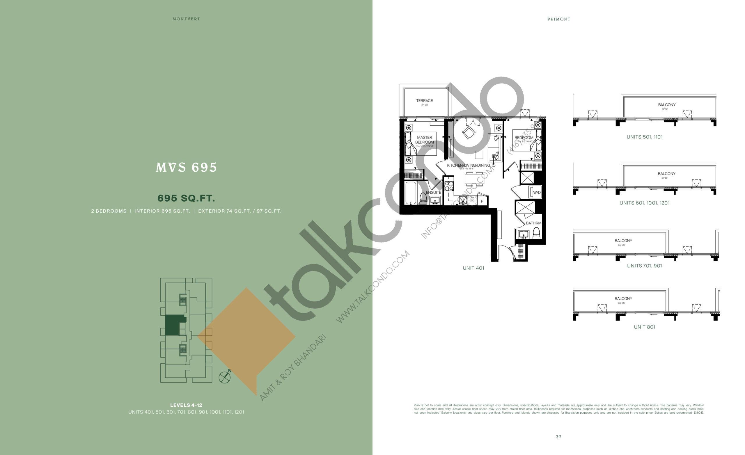 MVS 695 Floor Plan at MontVert Condos - 695 sq.ft