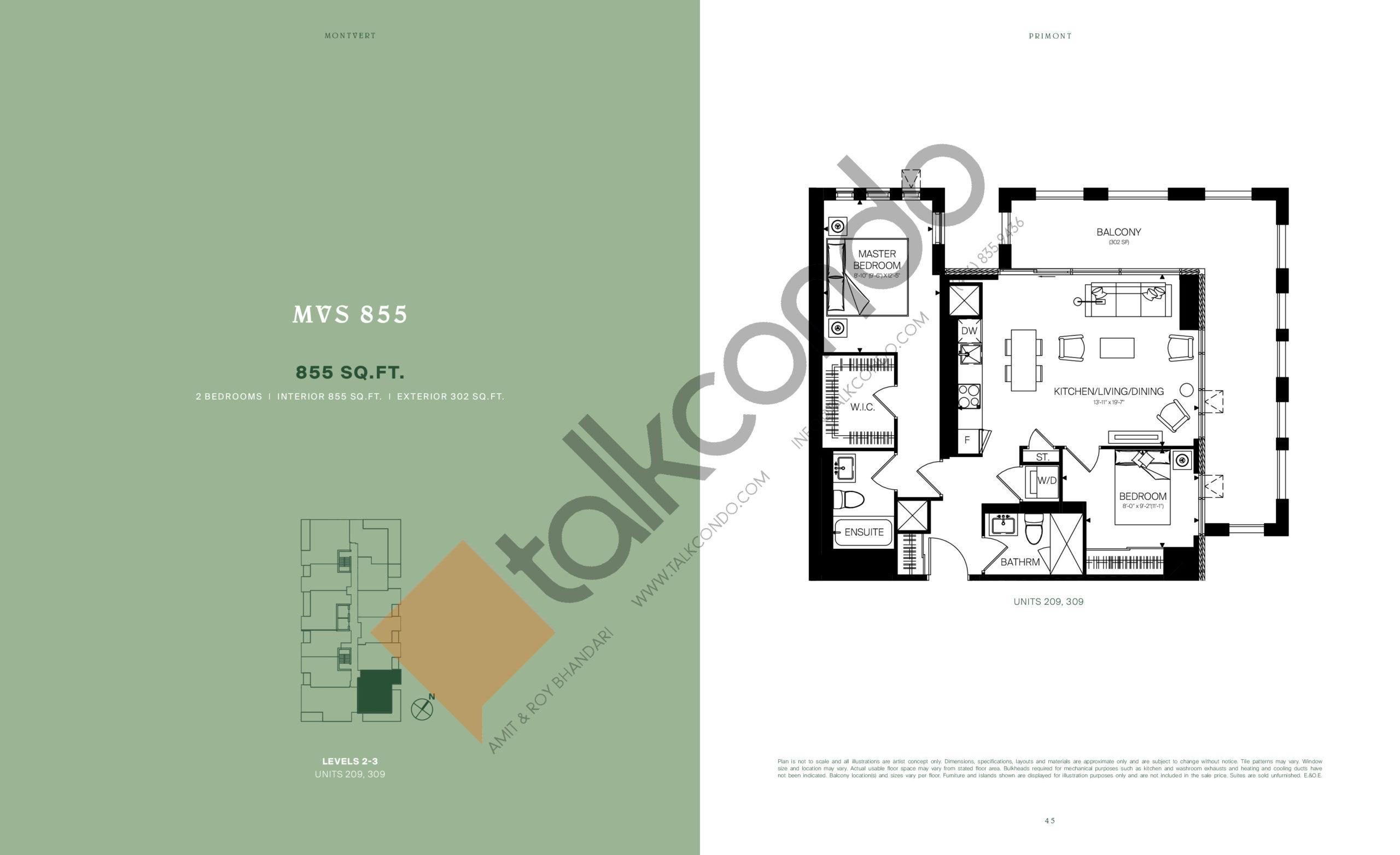 MVS 855 Floor Plan at MontVert Condos - 855 sq.ft