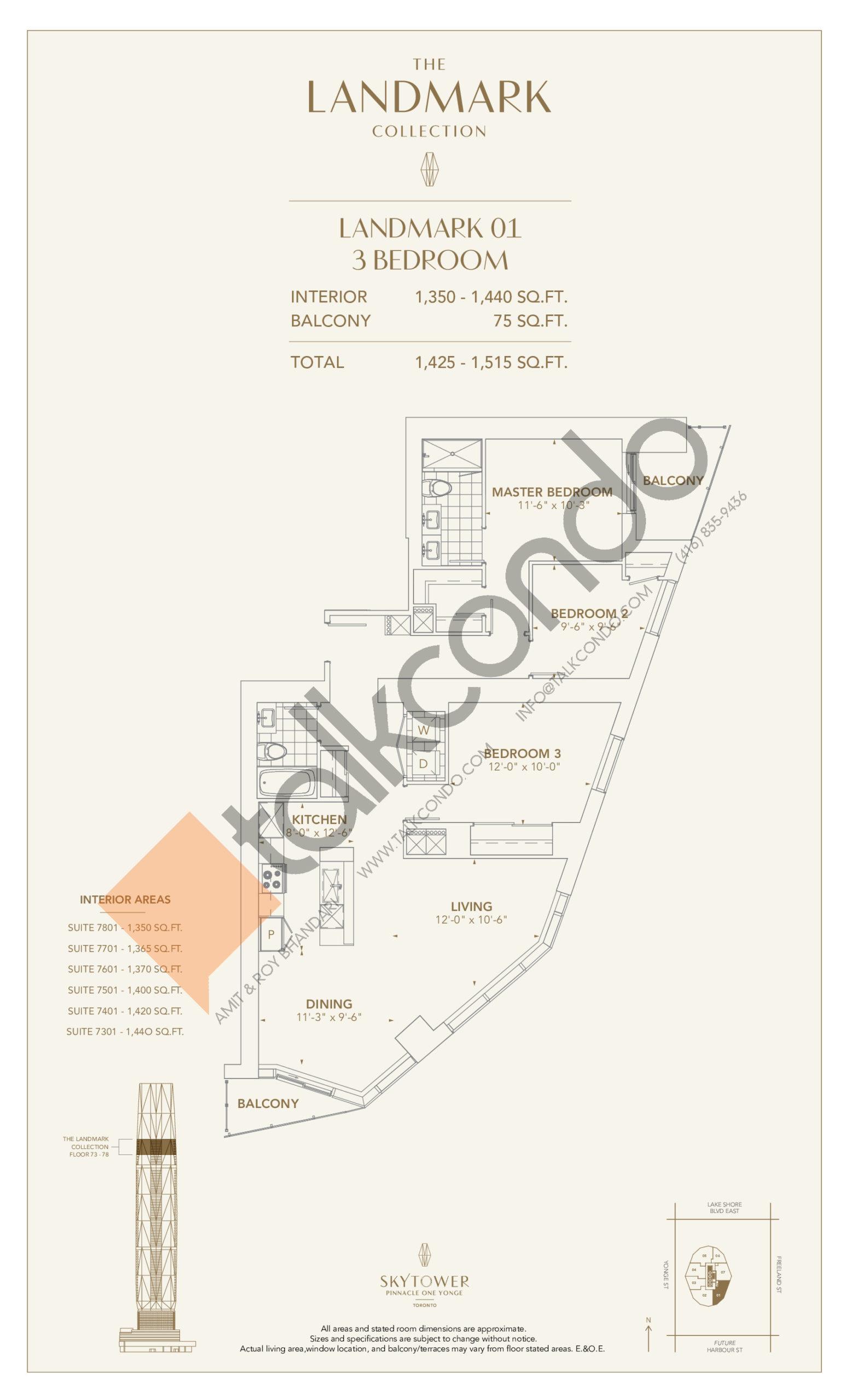 Landmark 01 Floor Plan at SkyTower at Pinnacle One Yonge - 1440 sq.ft
