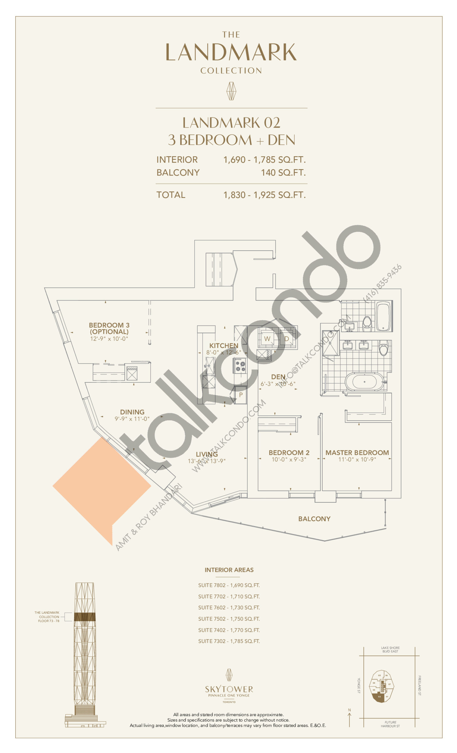 Landmark 02 Floor Plan at SkyTower at Pinnacle One Yonge - 1785 sq.ft