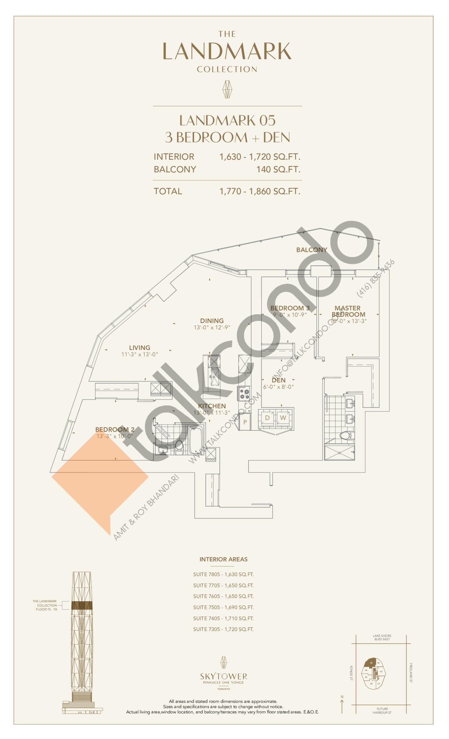 Landmark 05 Floor Plan at SkyTower at Pinnacle One Yonge - 1720 sq.ft