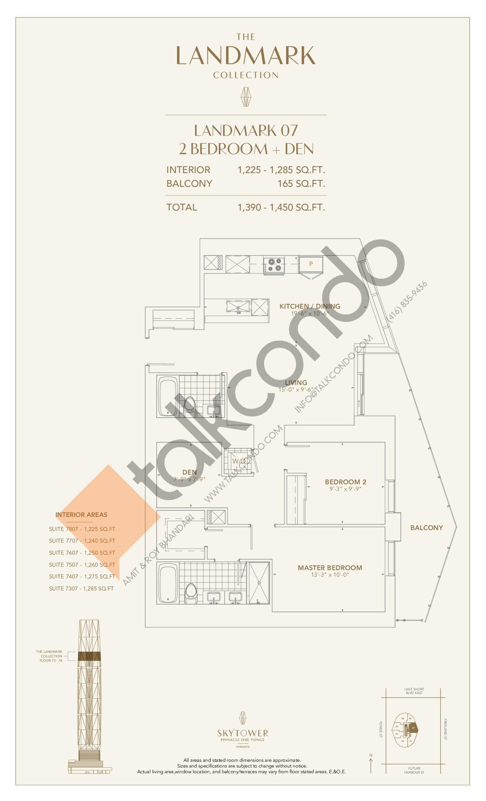 Landmark 07 Floor Plan at SkyTower at Pinnacle One Yonge - 1285 sq.ft