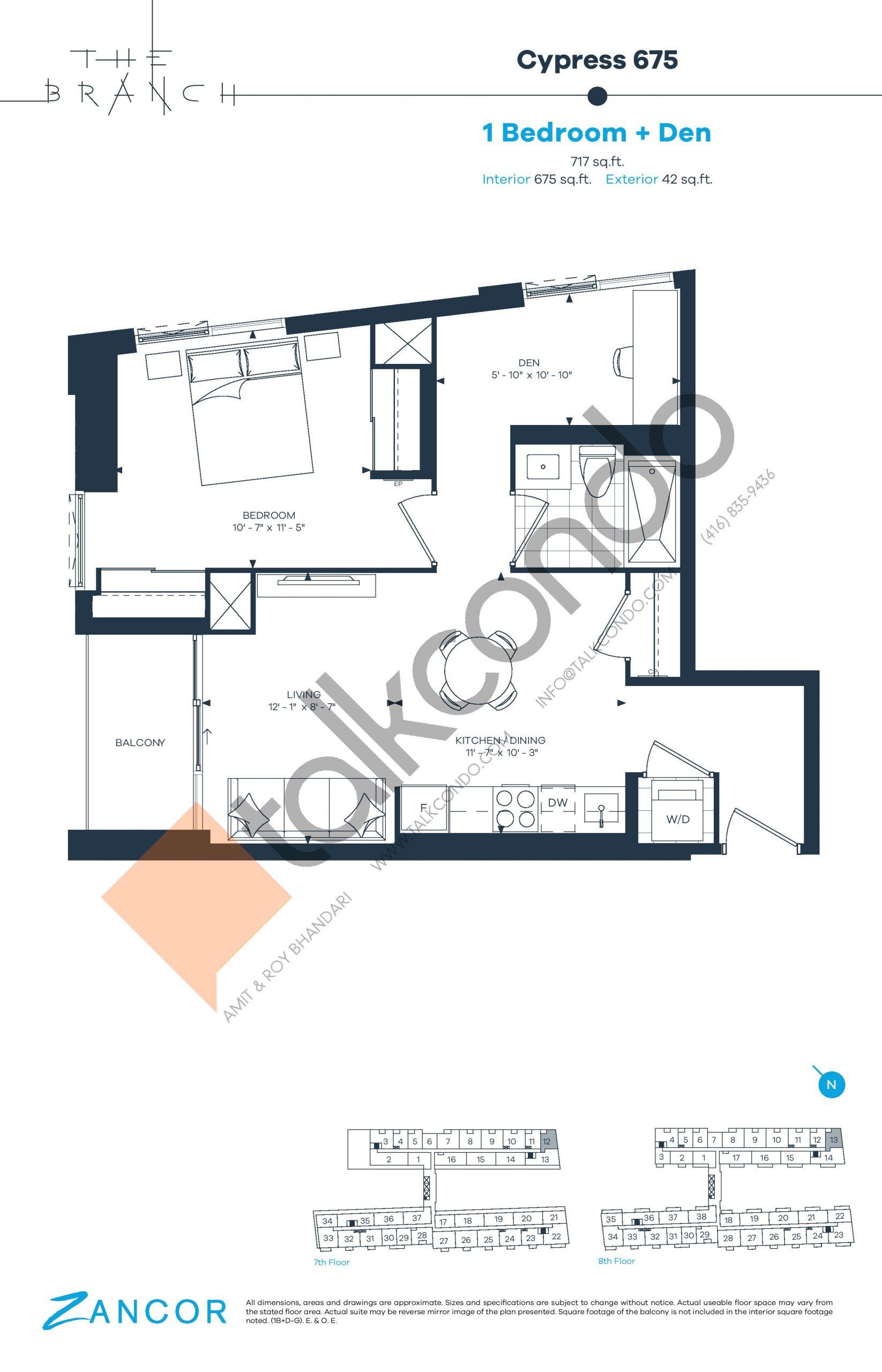 Cypress 675 Floor Plan at The Branch Condos - 675 sq.ft