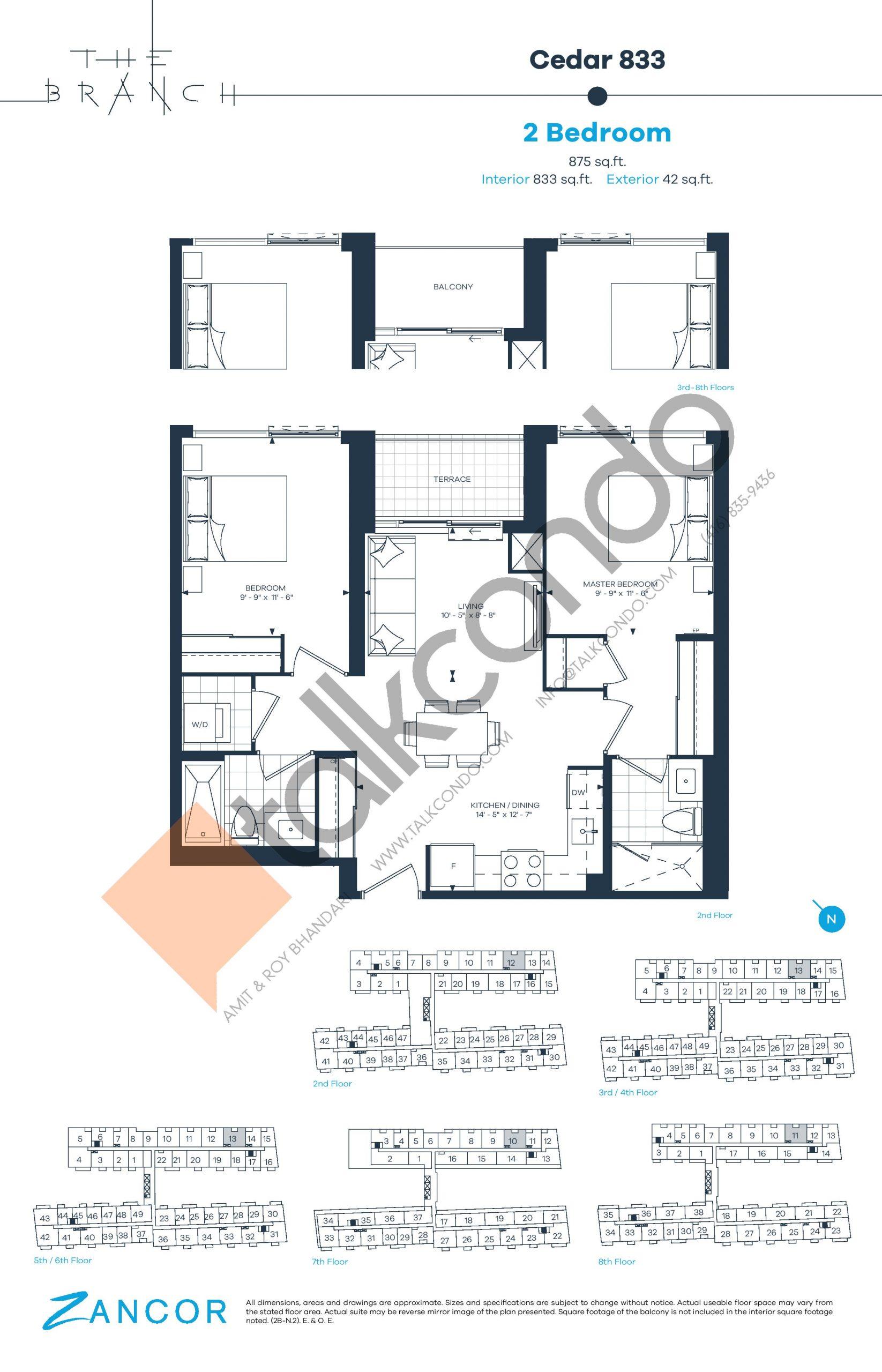 Cedar 833 Floor Plan at The Branch Condos - 833 sq.ft