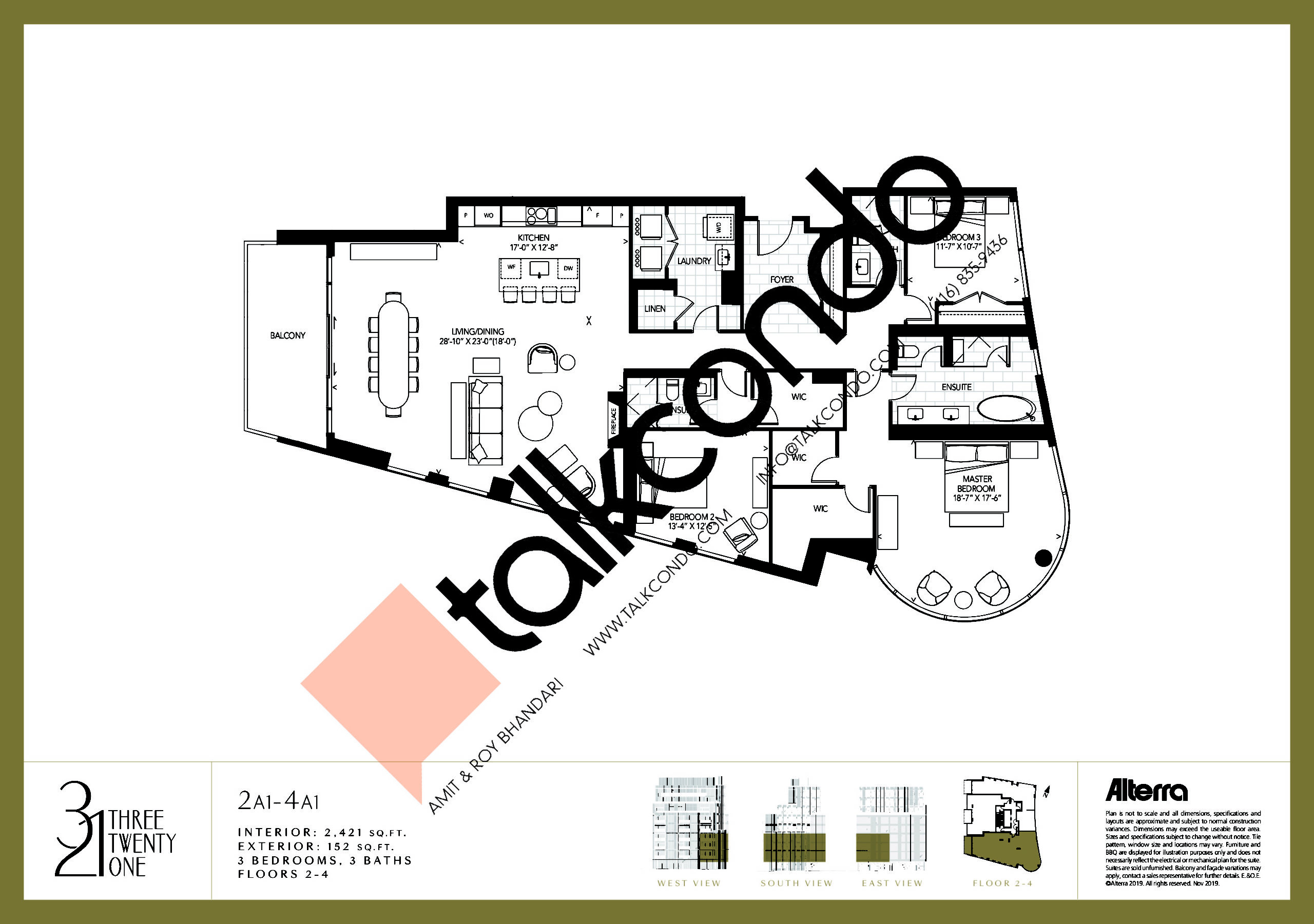 2A1-4A1 Floor Plan at 321 Davenport Condos - 2421 sq.ft