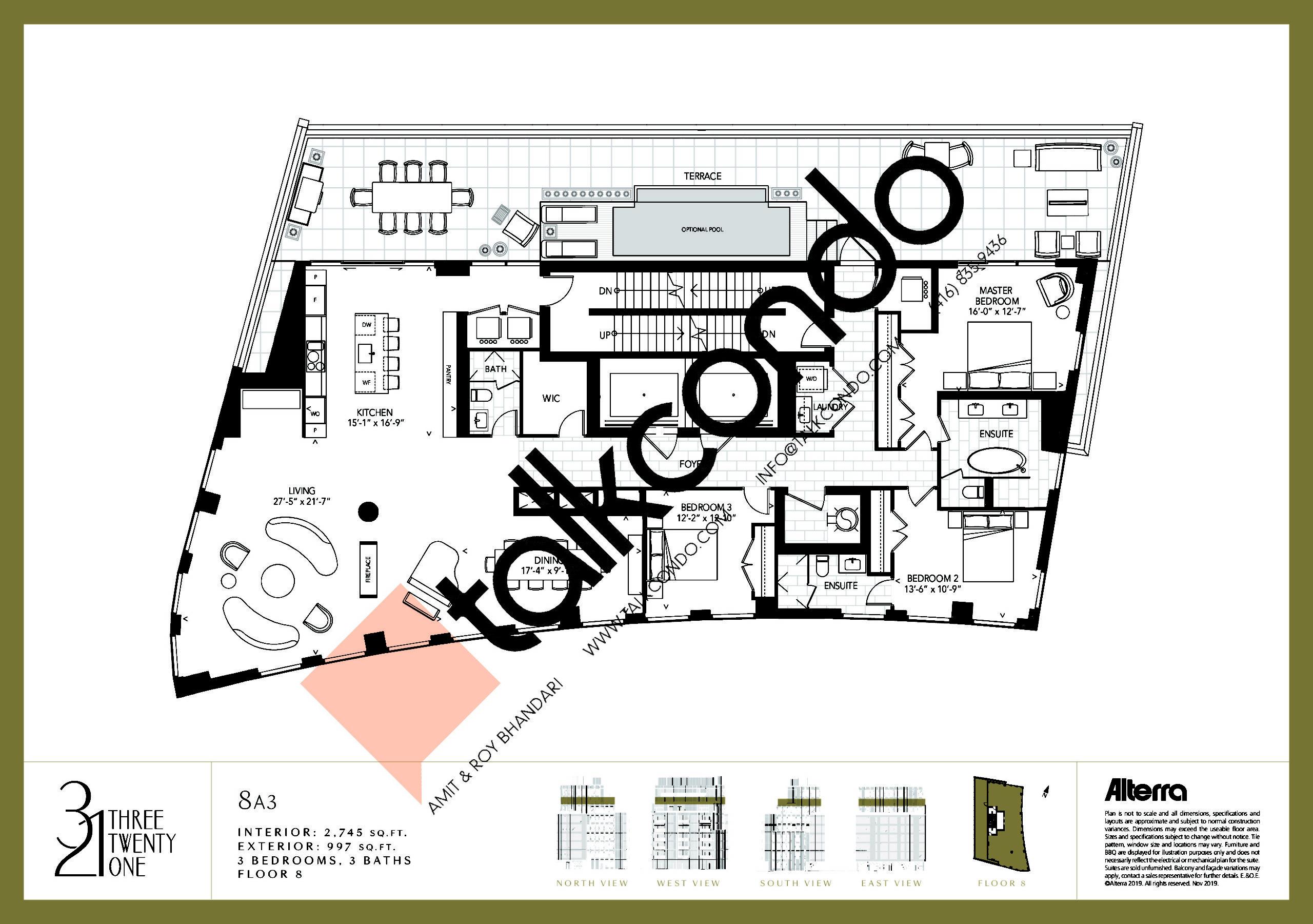 8A3 Floor Plan at 321 Davenport Condos - 2745 sq.ft