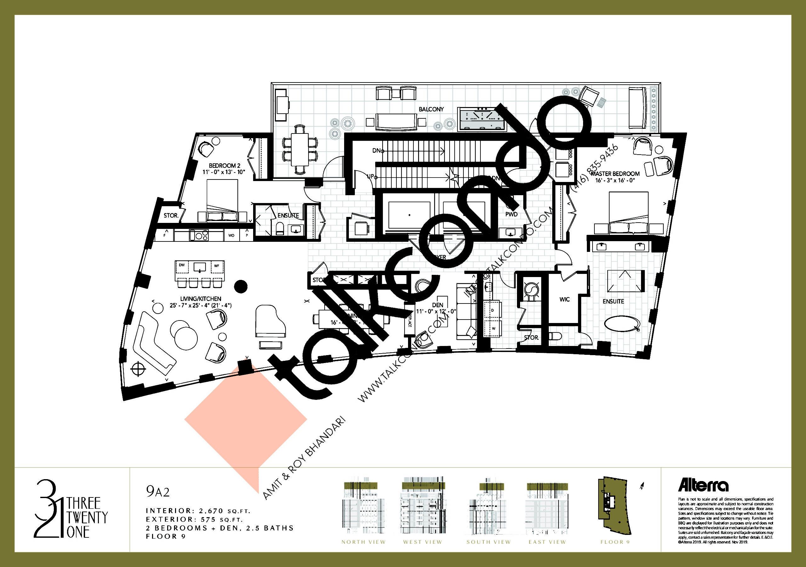 9A2 Floor Plan at 321 Davenport Condos - 2670 sq.ft