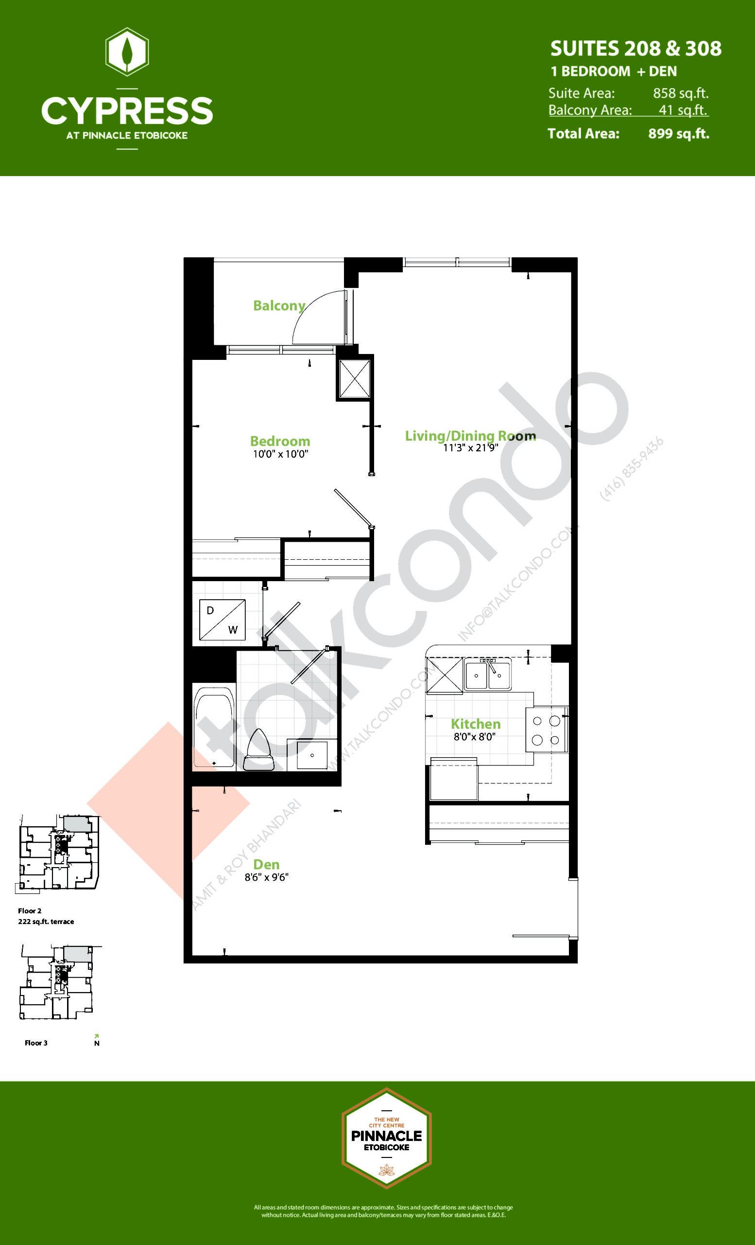 Suites 208 & 308 (Podium) Floor Plan at Cypress at Pinnacle Etobicoke - 858 sq.ft