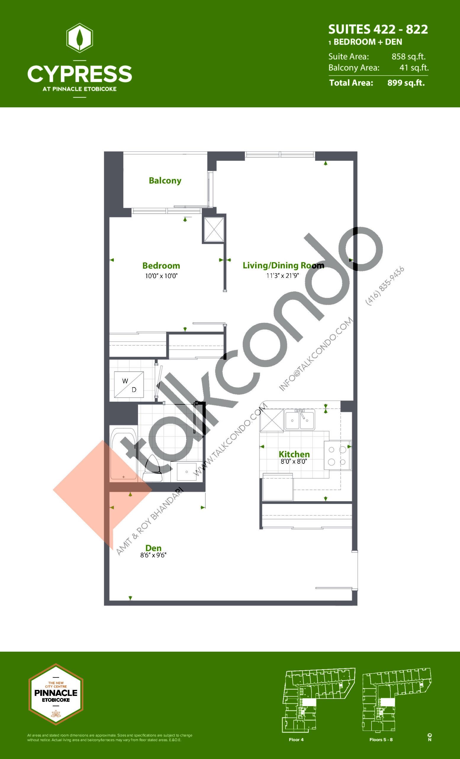 Suites 422 - 822 (Podium) Floor Plan at Cypress at Pinnacle Etobicoke - 858 sq.ft
