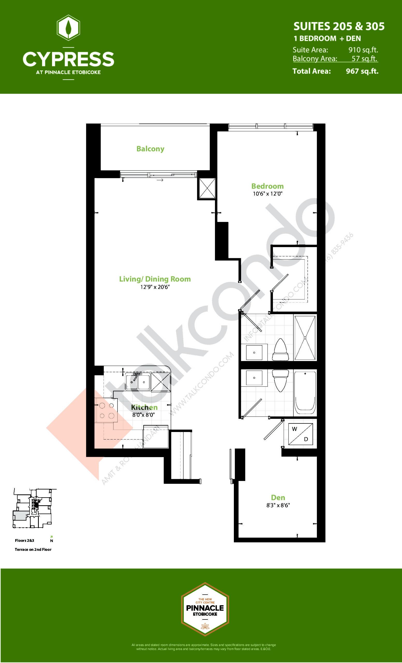 Suites 205 & 305 (Podium) Floor Plan at Cypress at Pinnacle Etobicoke - 910 sq.ft