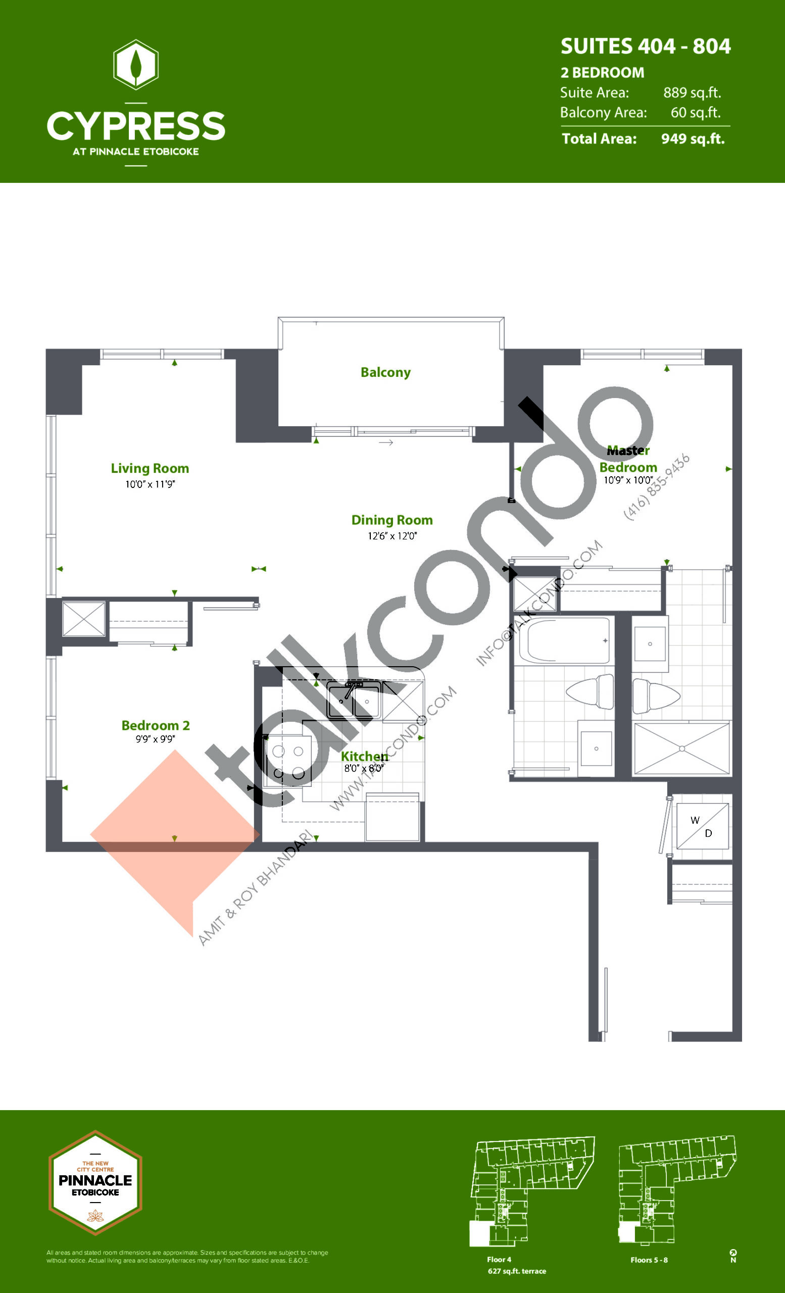 Suites 404 - 804 (Podium) Floor Plan at Cypress at Pinnacle Etobicoke - 889 sq.ft