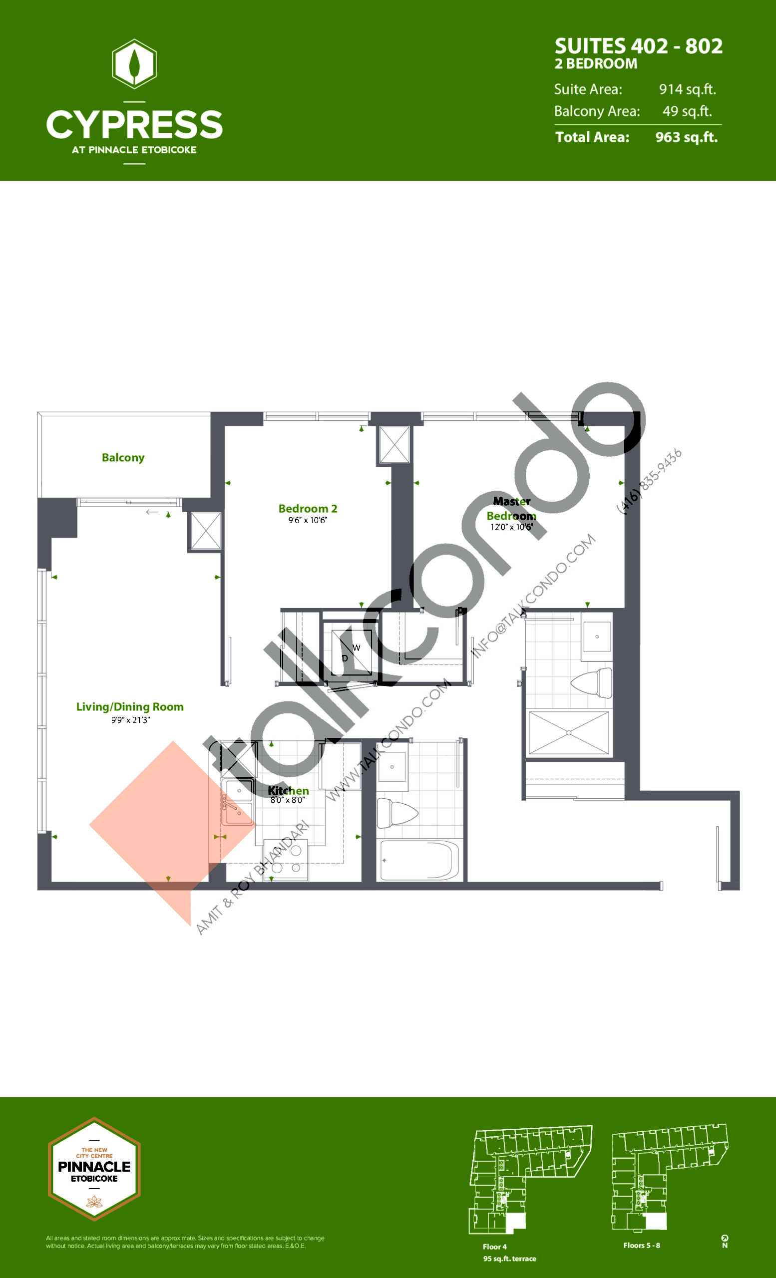 Suites 402 - 802 (Podium) Floor Plan at Cypress at Pinnacle Etobicoke - 914 sq.ft