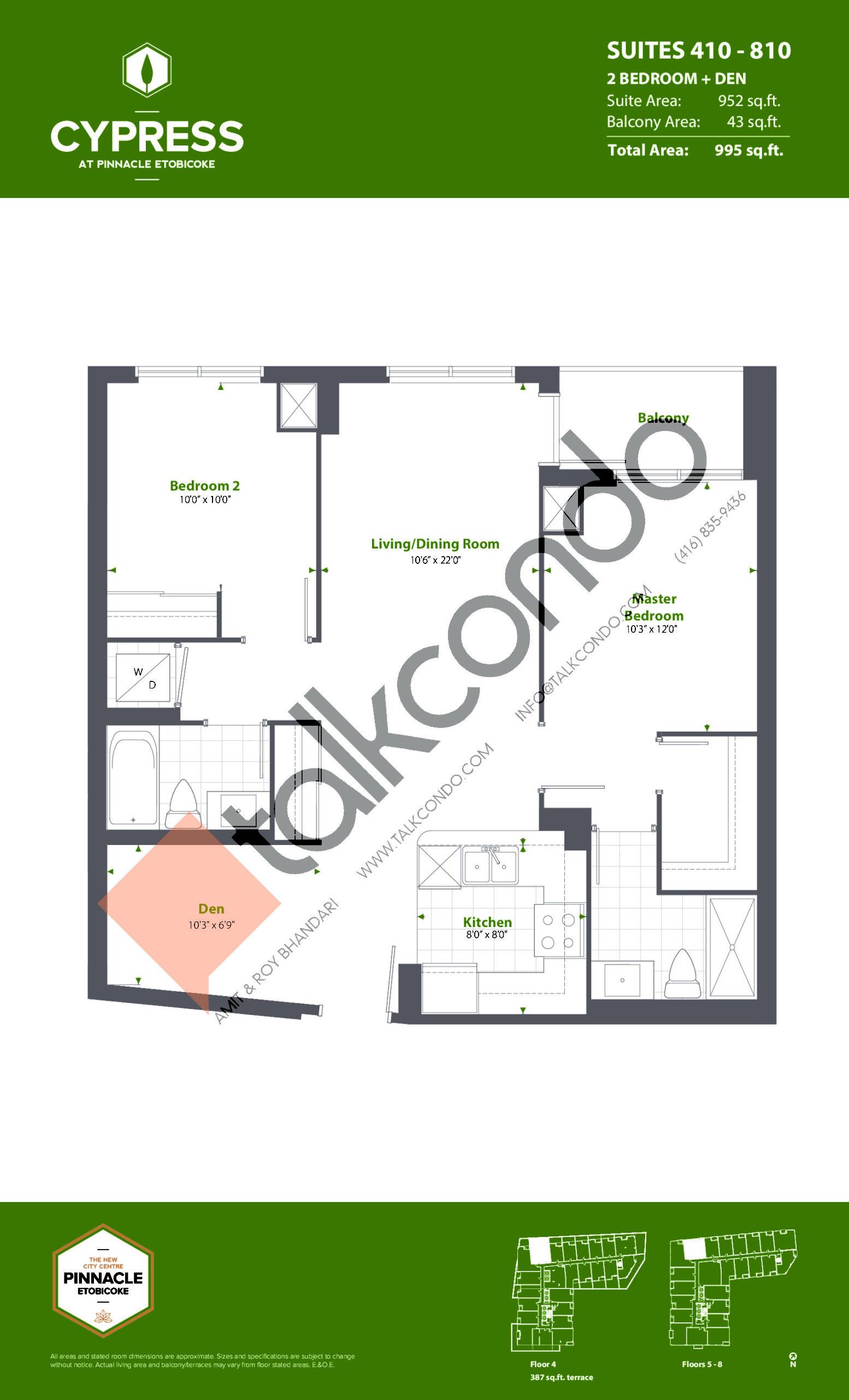 Suites 410 - 810 (Podium) Floor Plan at Cypress at Pinnacle Etobicoke - 952 sq.ft