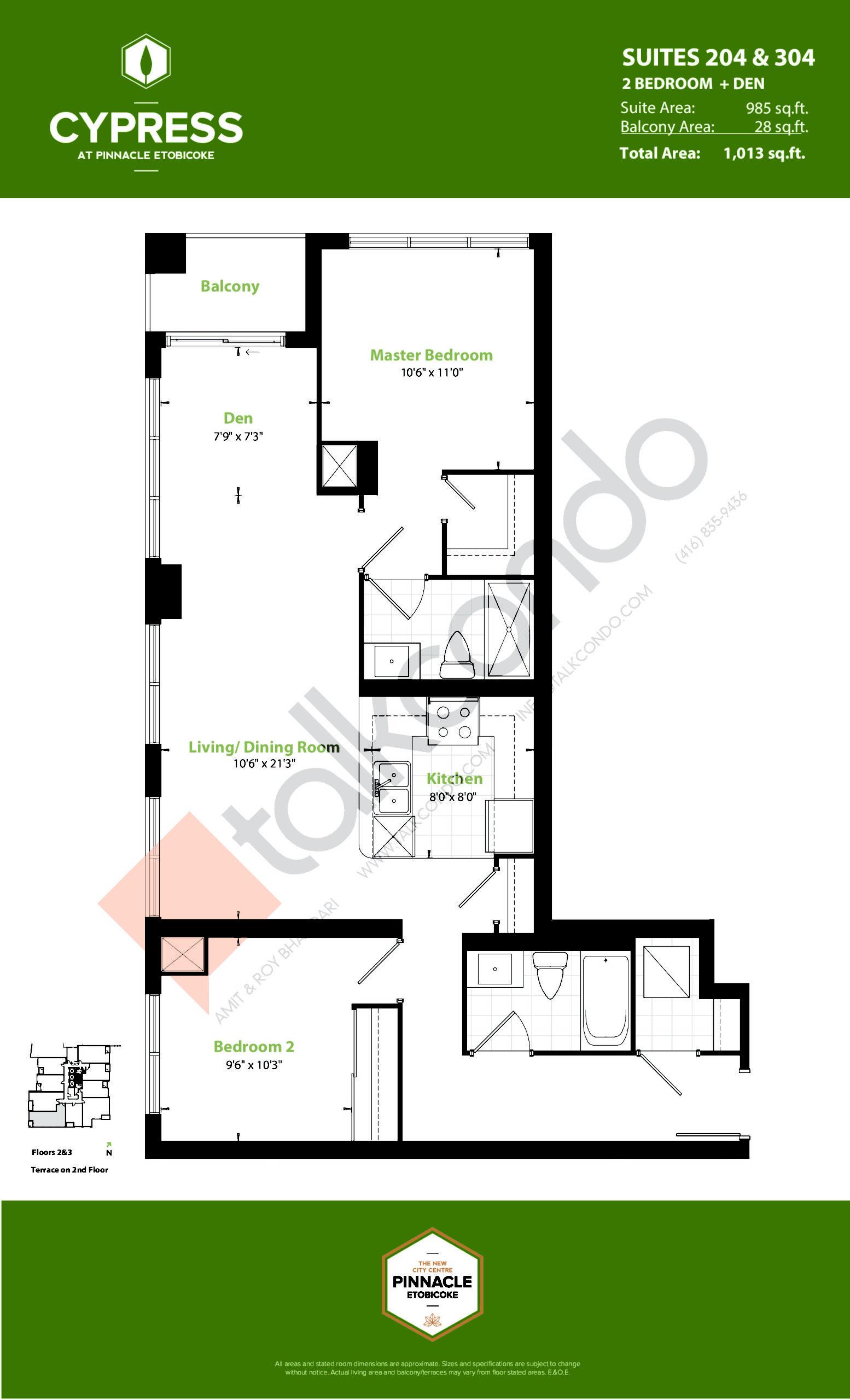 Suites 204 & 304 (Podium) Floor Plan at Cypress at Pinnacle Etobicoke - 985 sq.ft