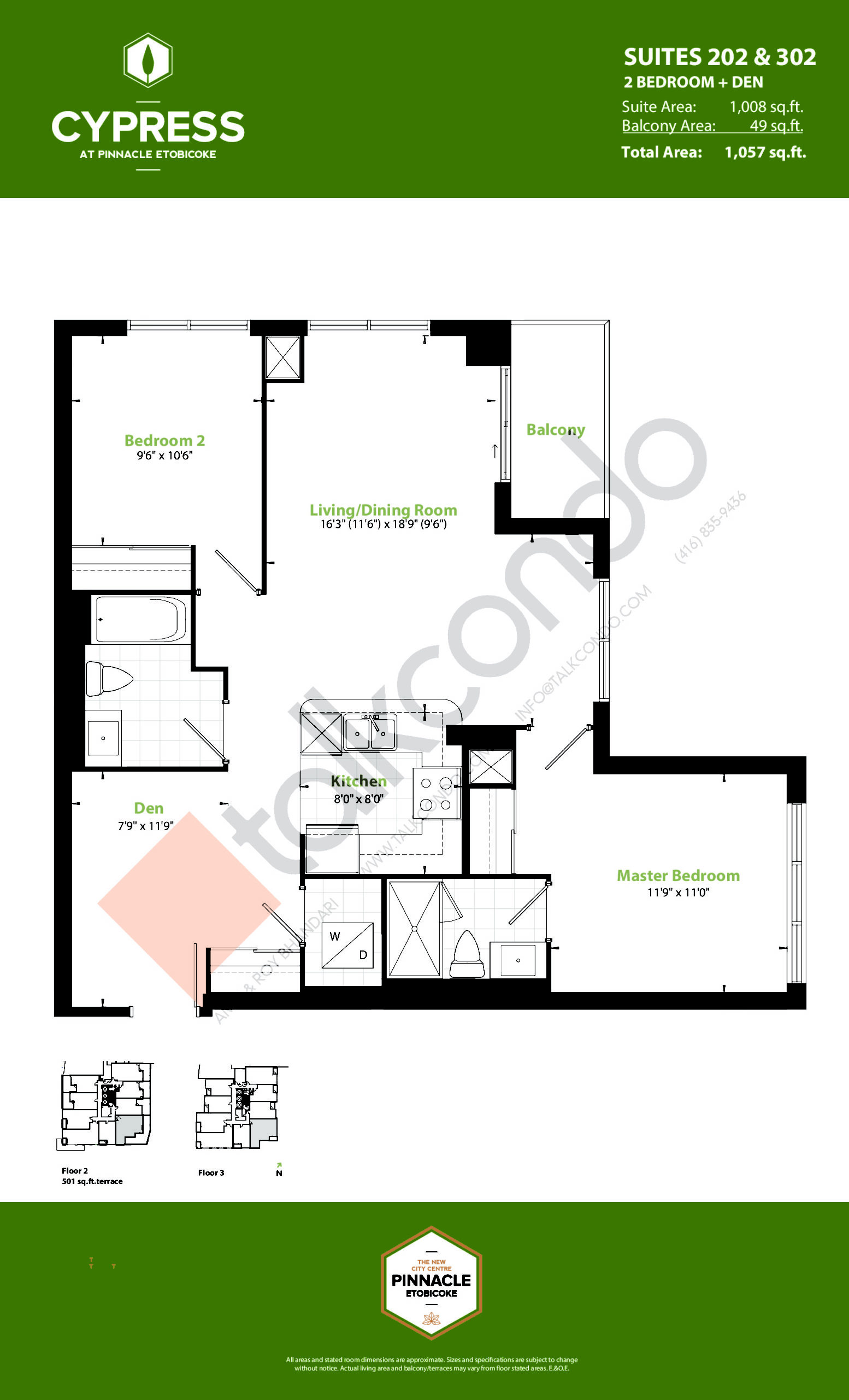 Suites 202 & 302 (Podium) Floor Plan at Cypress at Pinnacle Etobicoke - 1008 sq.ft
