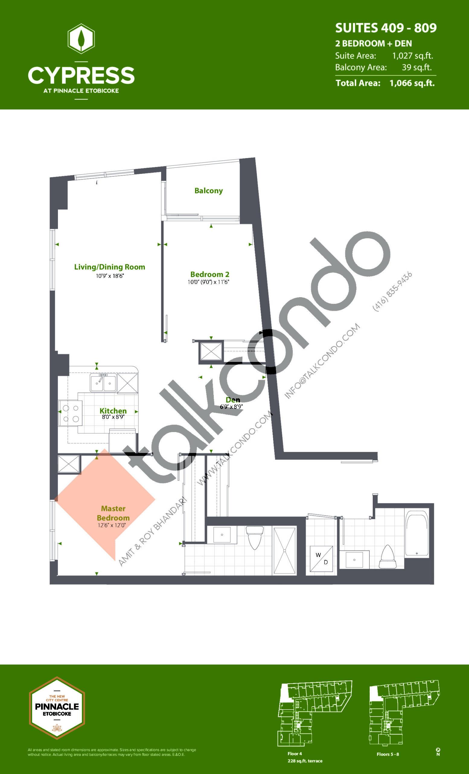 Suites 409 - 809 (Podium) Floor Plan at Cypress at Pinnacle Etobicoke - 1027 sq.ft