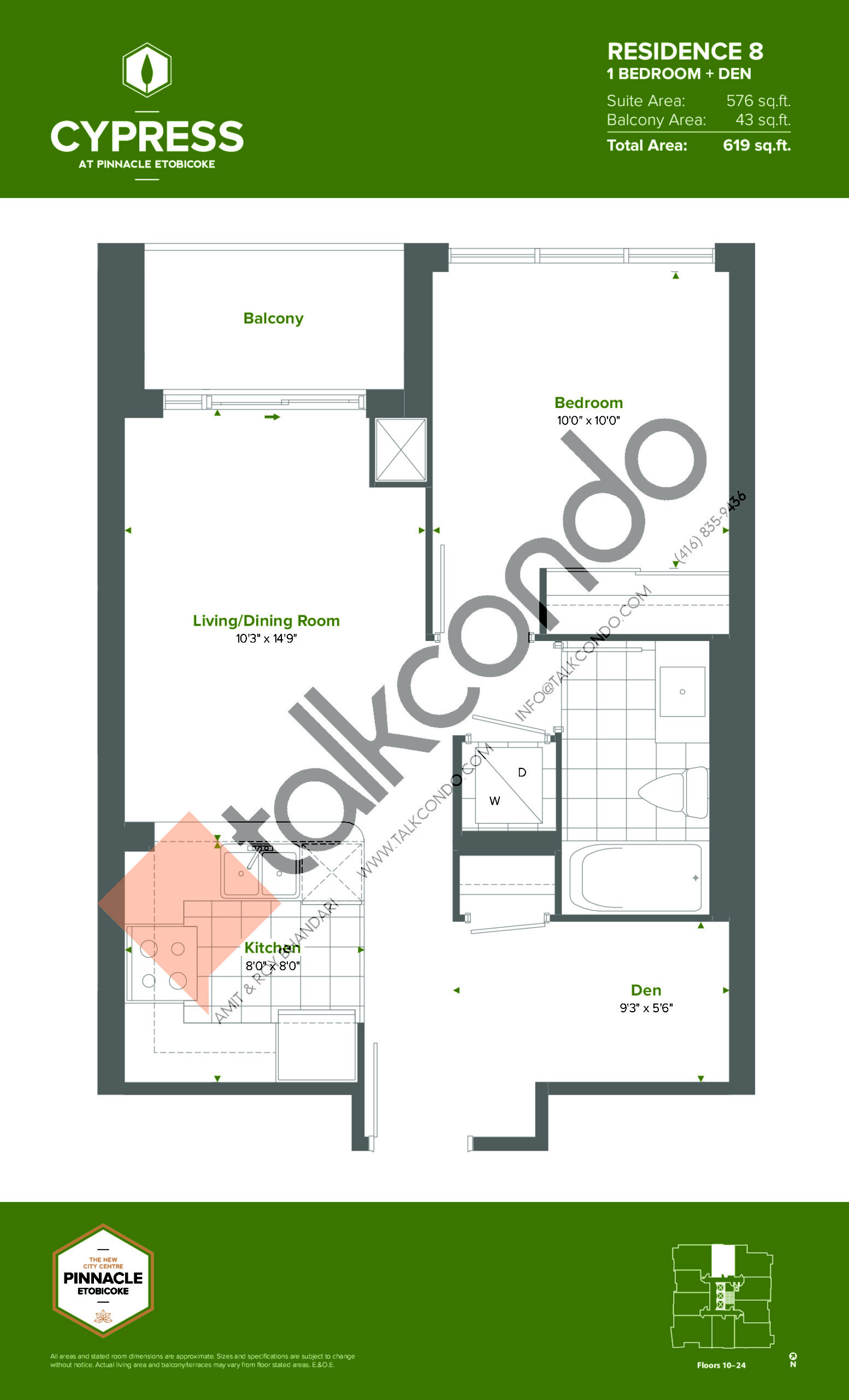 Residence 8 (Tower) Floor Plan at Cypress at Pinnacle Etobicoke - 576 sq.ft