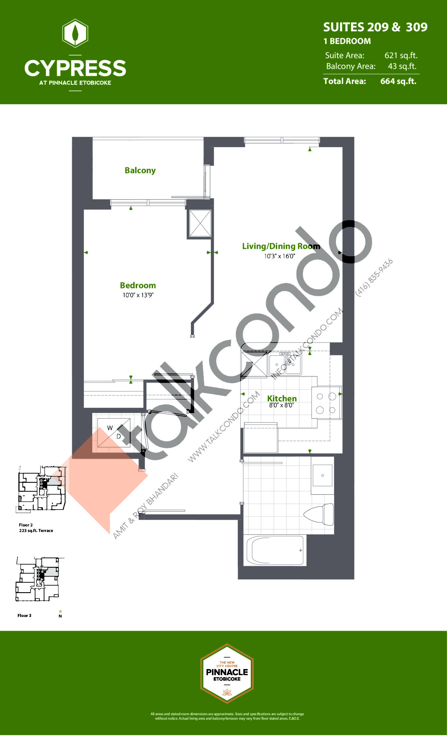 Suites 209 & 309 (Podium) Floor Plan at Cypress at Pinnacle Etobicoke - 621 sq.ft
