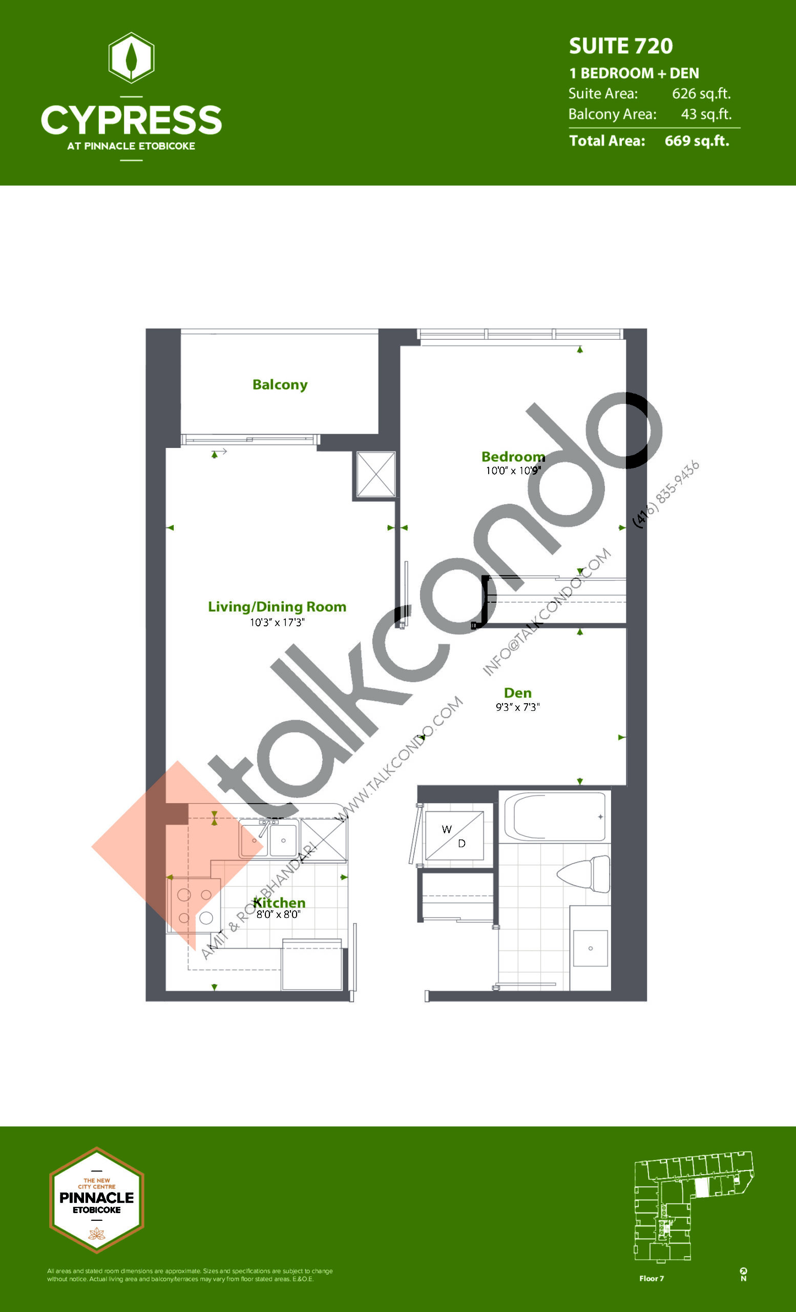 Suite 720 (Podium) Floor Plan at Cypress at Pinnacle Etobicoke - 626 sq.ft