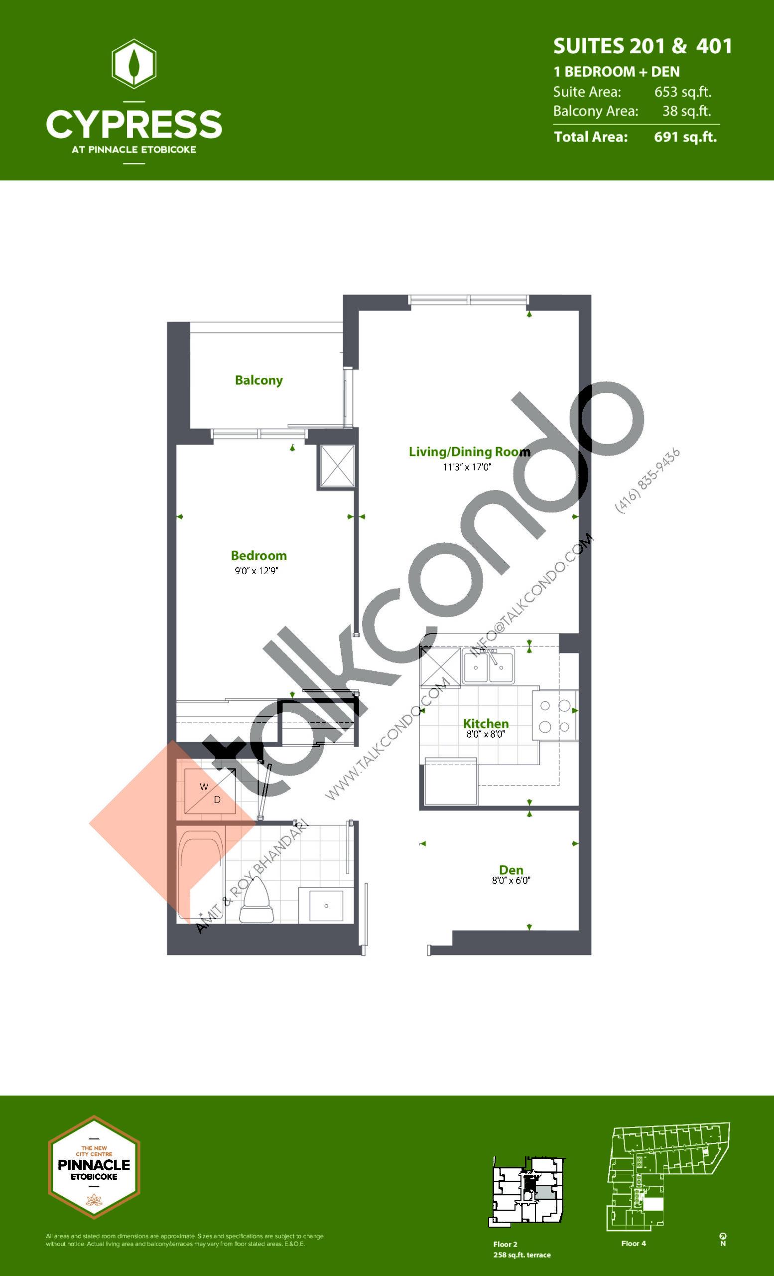 Suites 201 & 401 (Podium) Floor Plan at Cypress at Pinnacle Etobicoke - 653 sq.ft