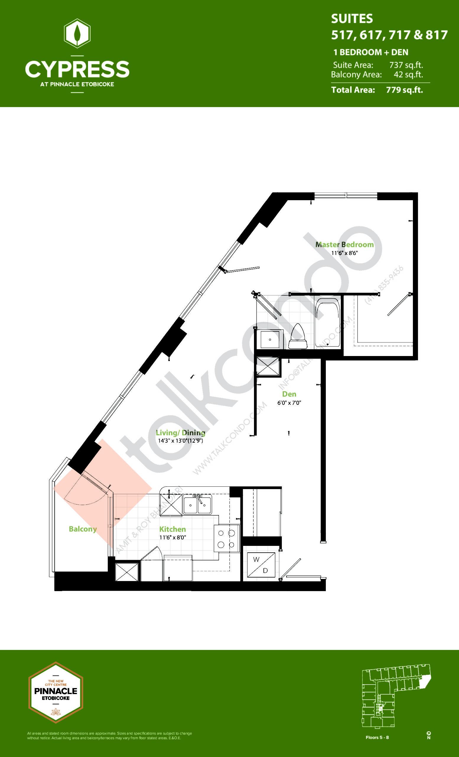 Suites 517, 617, 717 & 817 (Podium) Floor Plan at Cypress at Pinnacle Etobicoke - 737 sq.ft