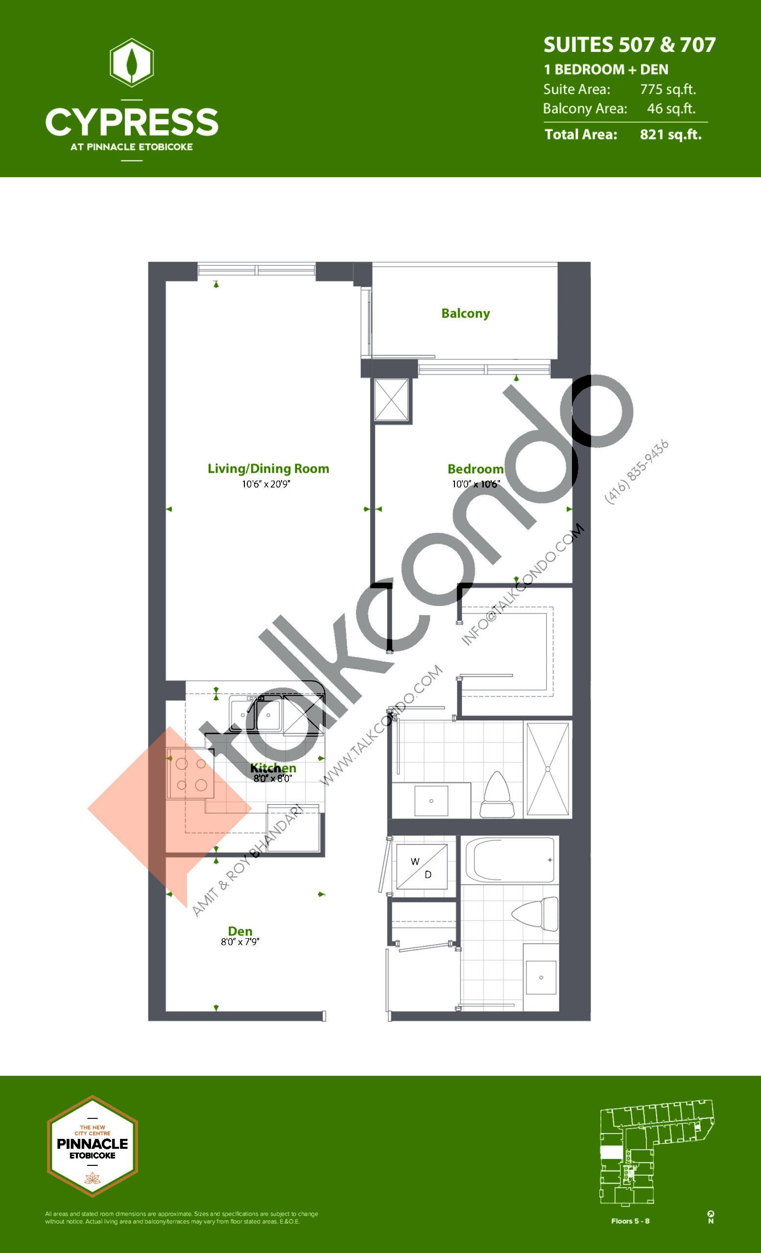Suites 507 & 707 (Podium) Floor Plan at Cypress at Pinnacle Etobicoke - 775 sq.ft