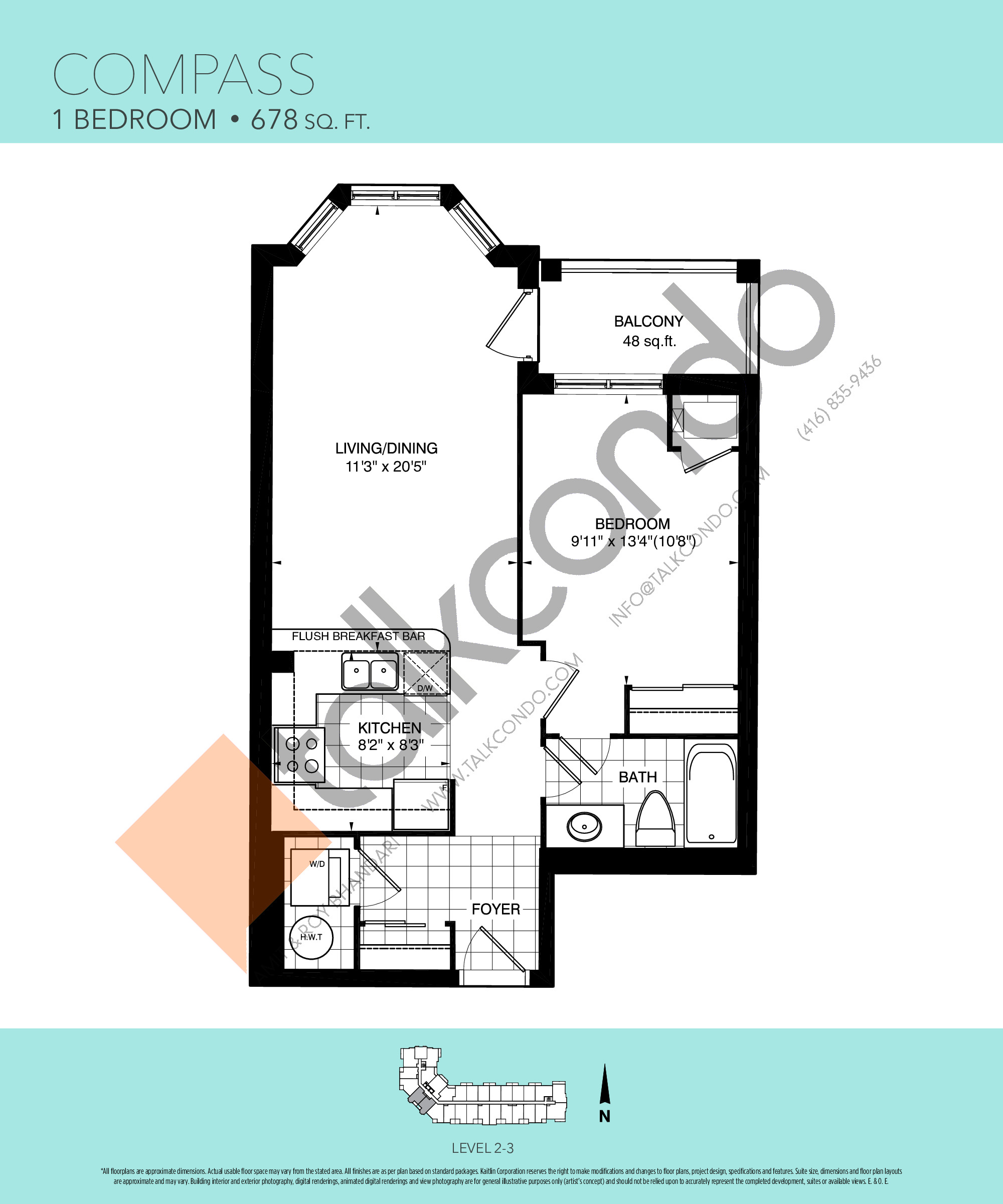 Compass Floor Plan at Harbourview Grand Condos - 678 sq.ft
