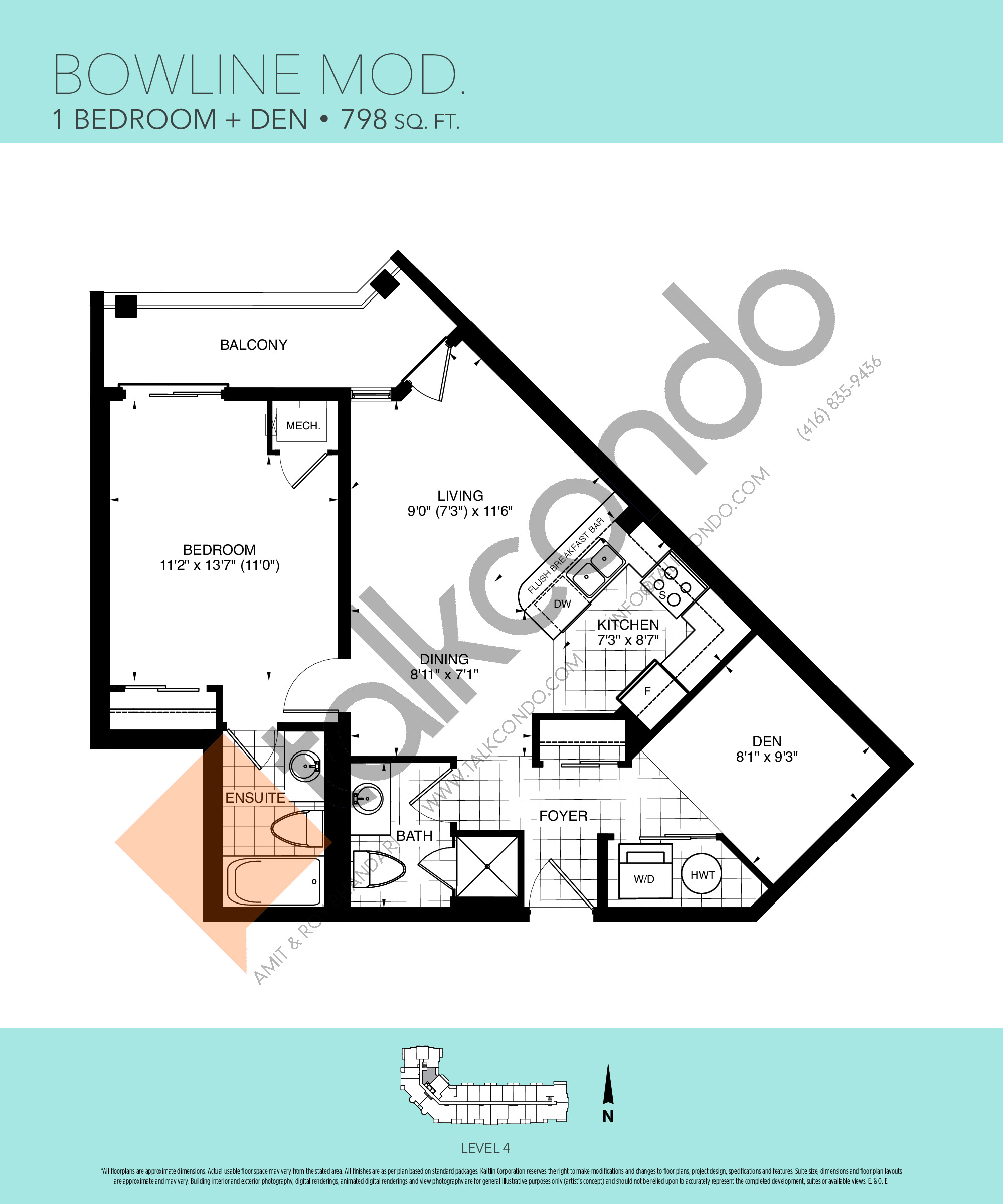 Bowline Mod Floor Plan at Harbourview Grand Condos - 798 sq.ft