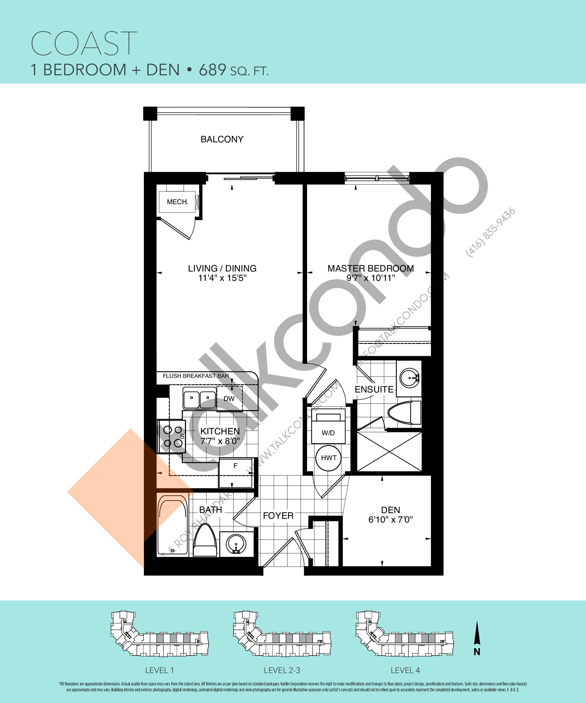 Coast Floor Plan at Harbourview Grand Condos - 689 sq.ft