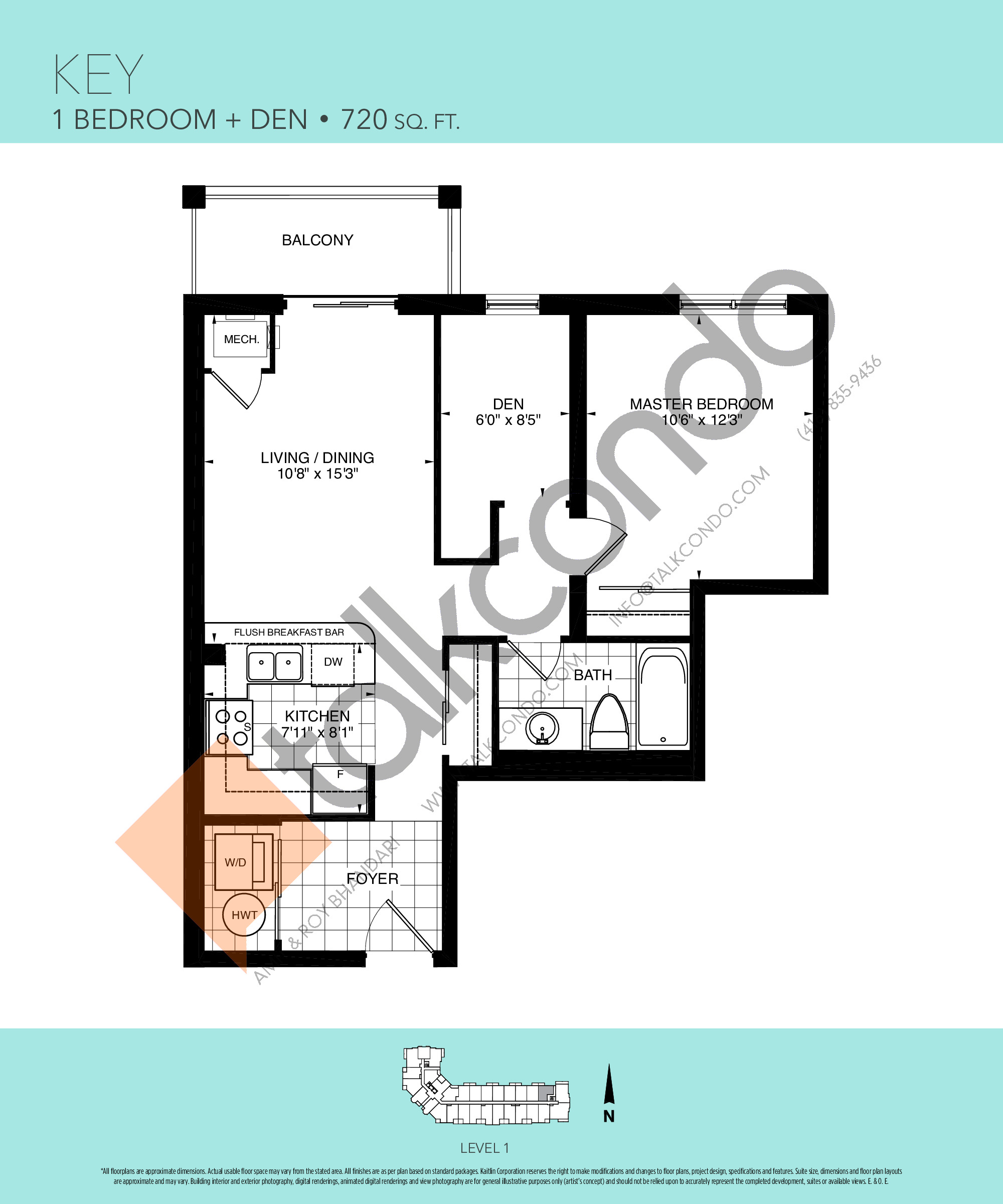 Key Floor Plan at Harbourview Grand Condos - 720 sq.ft
