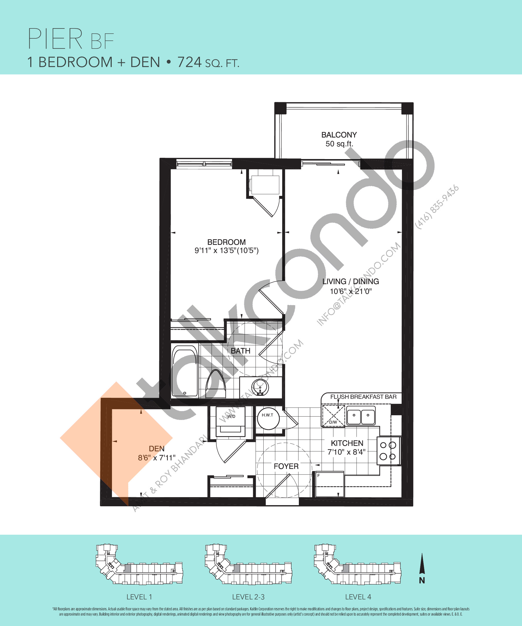 Pier BF Floor Plan at Harbourview Grand Condos - 724 sq.ft