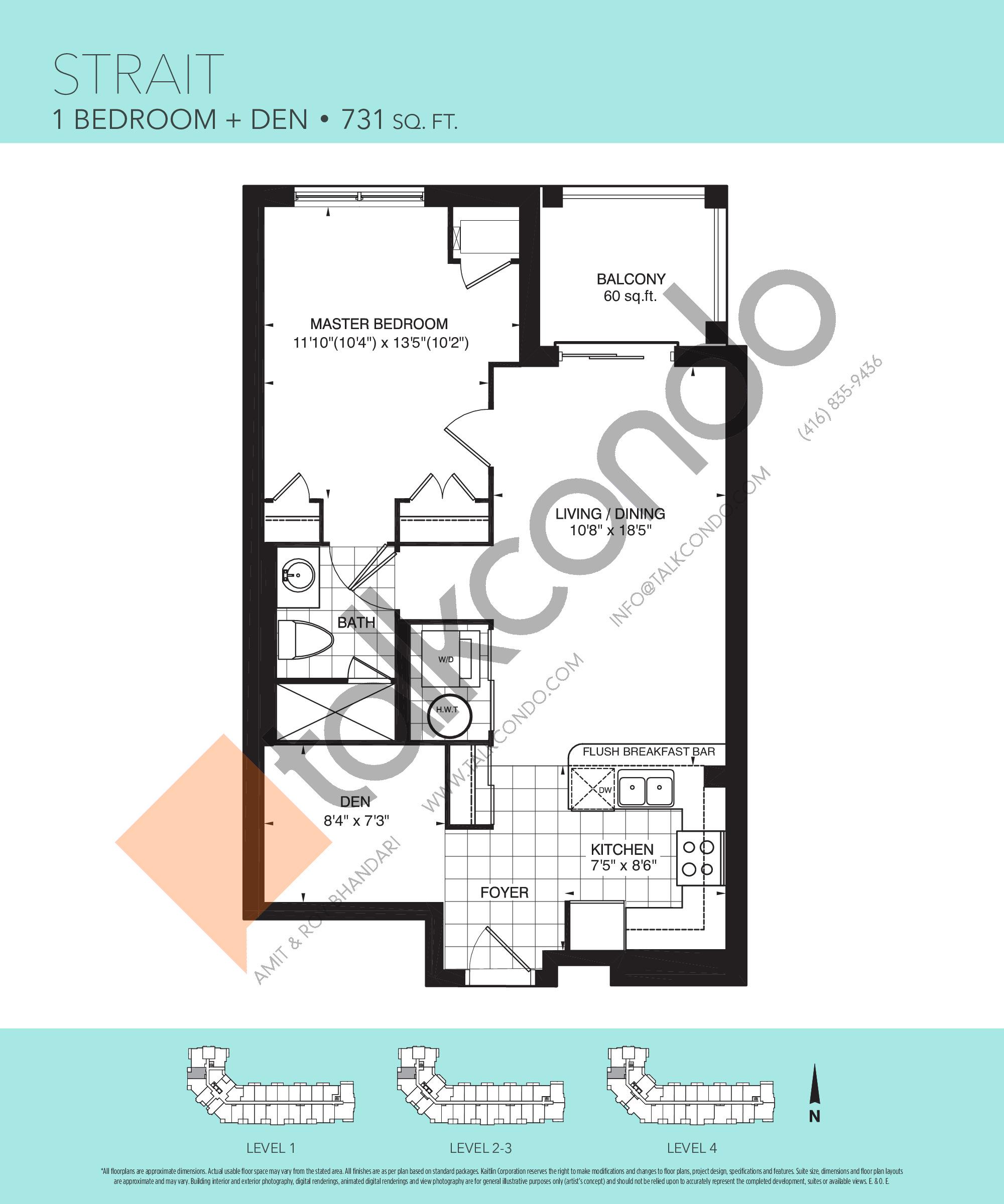 Strait Floor Plan at Harbourview Grand Condos - 731 sq.ft