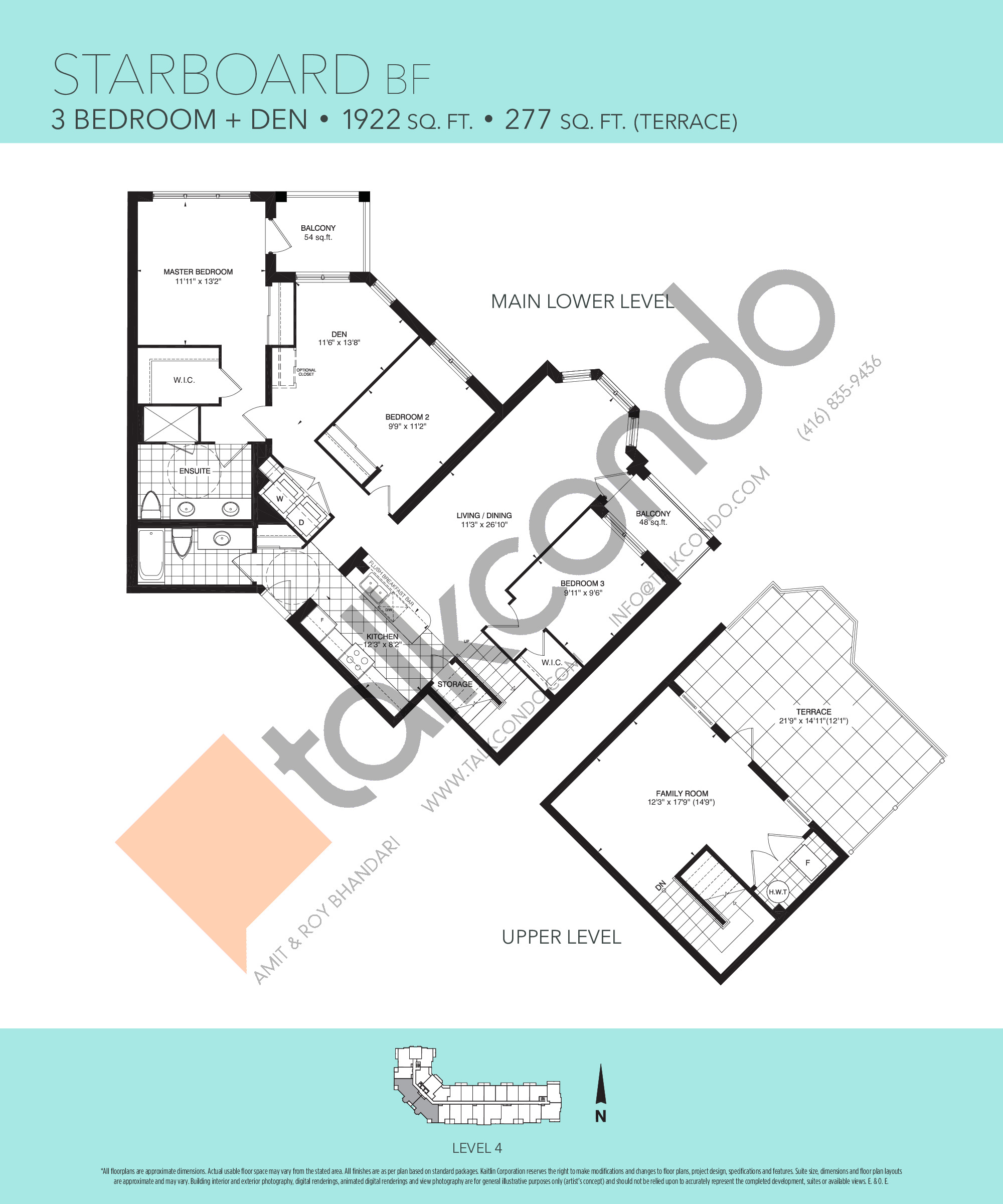 Starboard BF Floor Plan at Harbourview Grand Condos - 1922 sq.ft