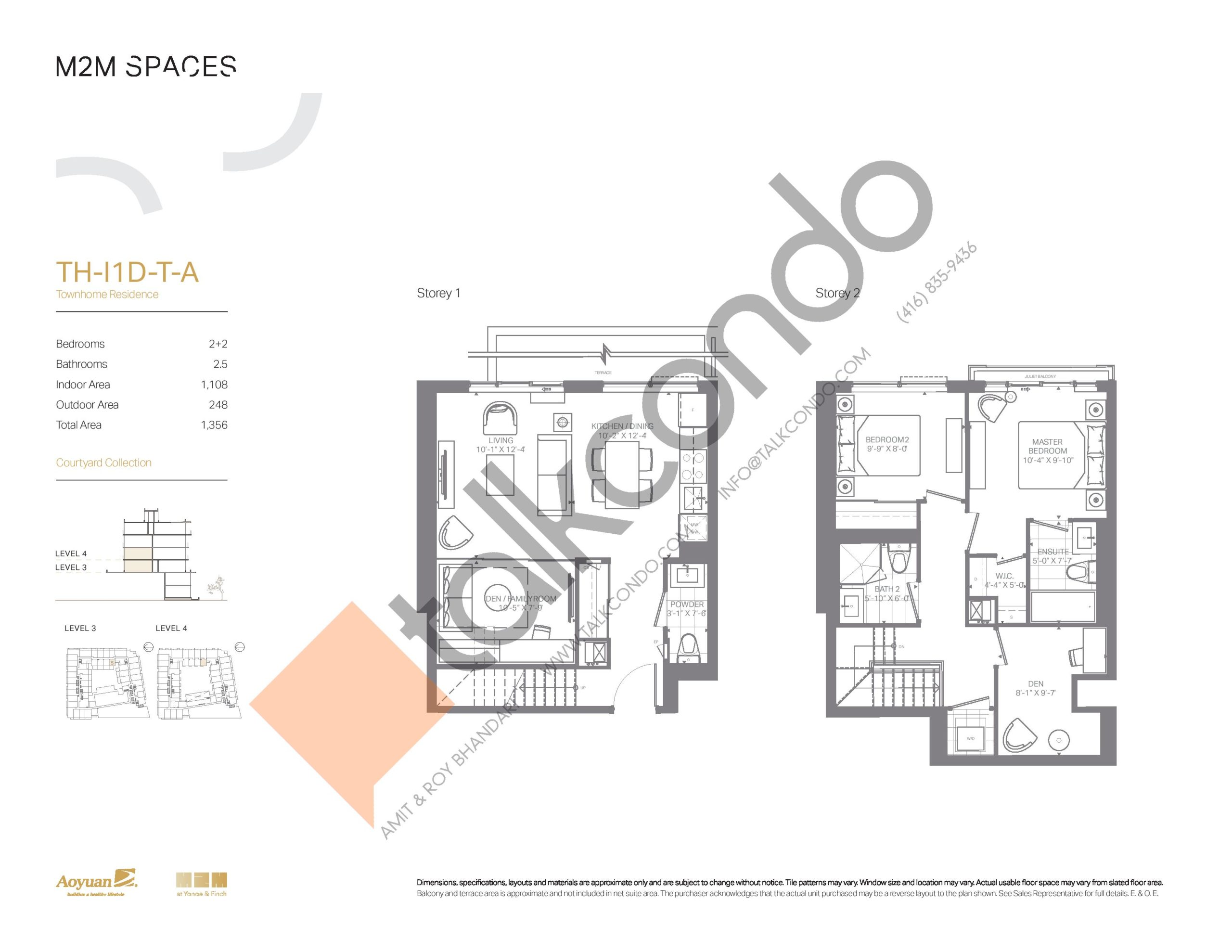 TH-I1D-T-A (Courtyard Collection) Floor Plan at M2M Spaces Condos - 1108 sq.ft