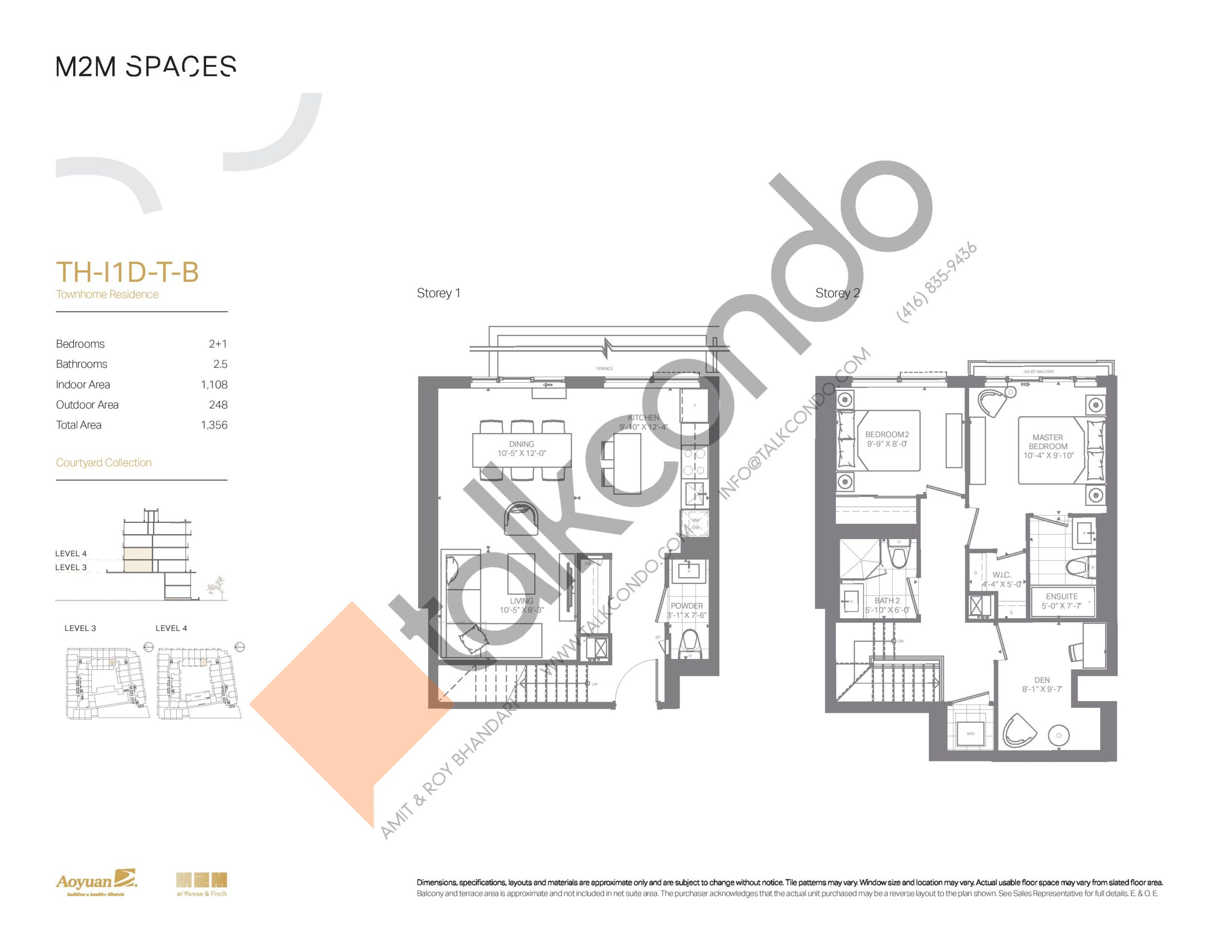 TH-I1D-T-B (Courtyard Collection) Floor Plan at M2M Spaces Condos - 1108 sq.ft