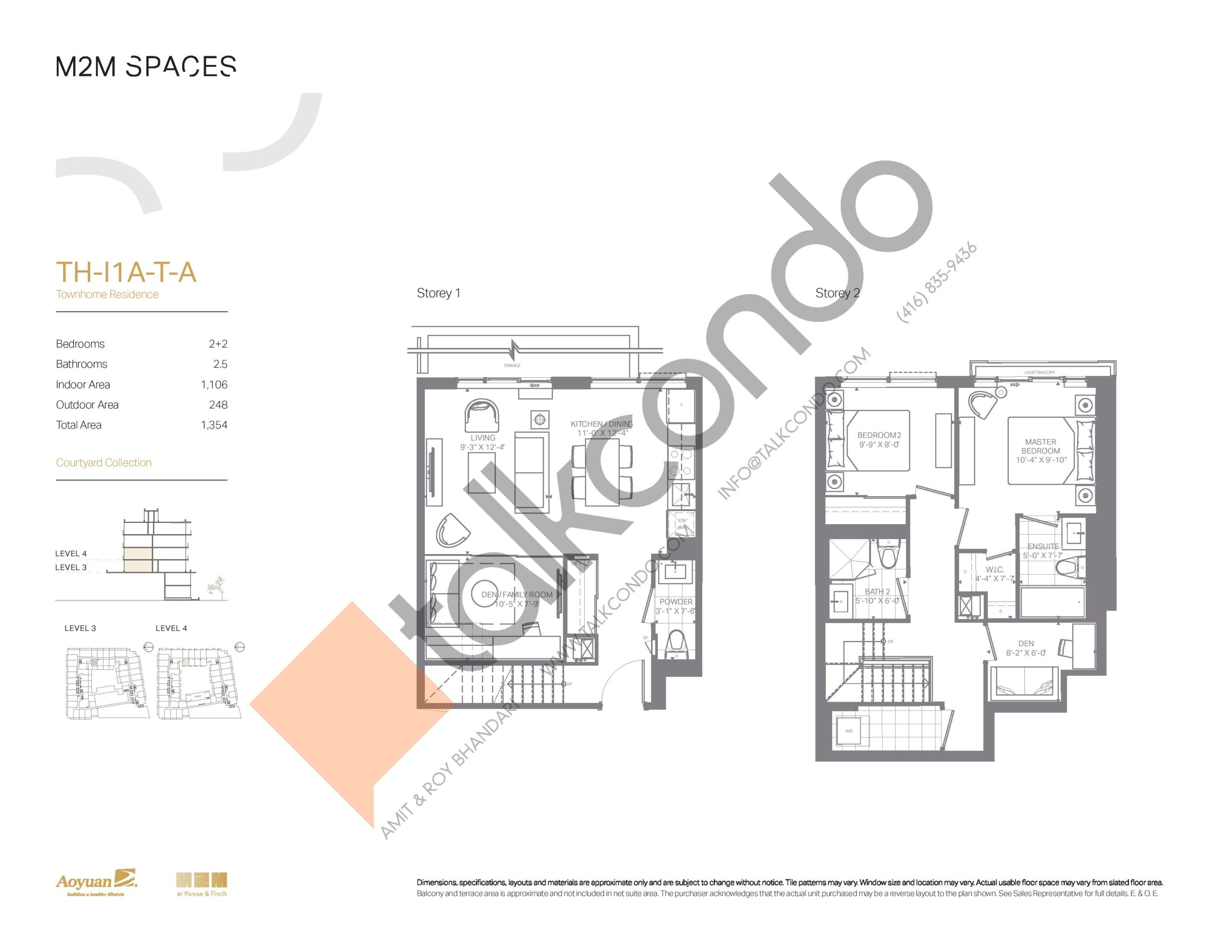 TH-I1A-T-A (Courtyard Collection) Floor Plan at M2M Spaces Condos - 1106 sq.ft
