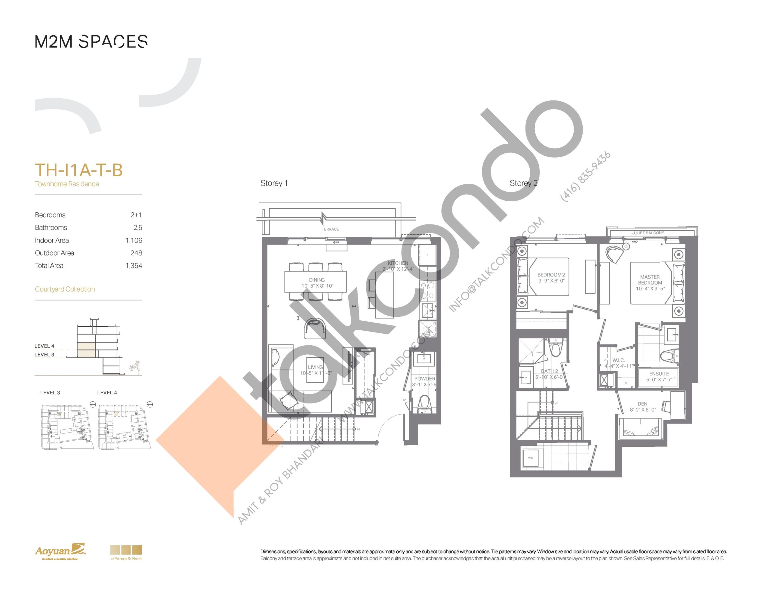 TH-I1A-T-B (Courtyard Collection) Floor Plan at M2M Spaces Condos - 1106 sq.ft