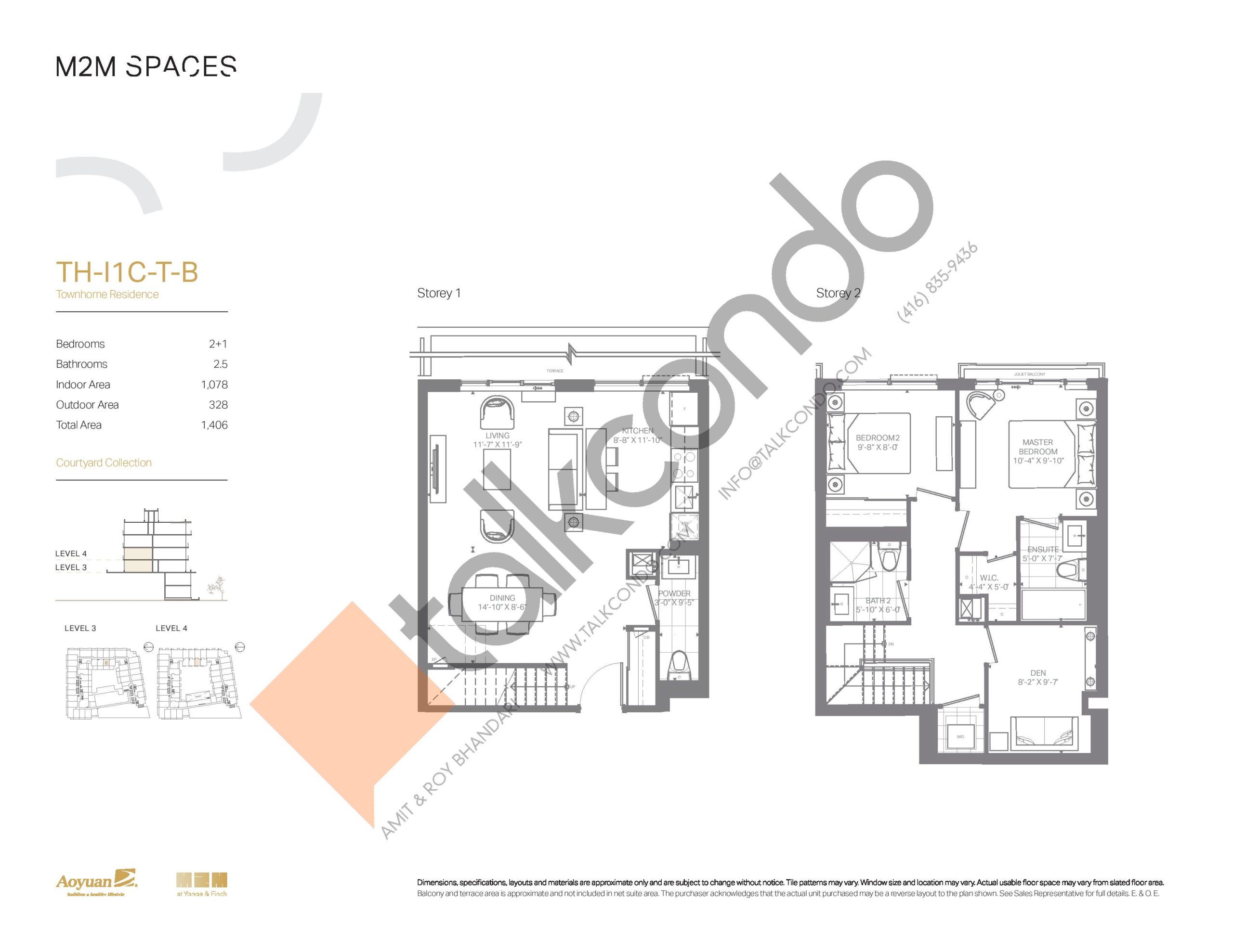 TH-I1C-T-B (Courtyard Collection) Floor Plan at M2M Spaces Condos - 1078 sq.ft