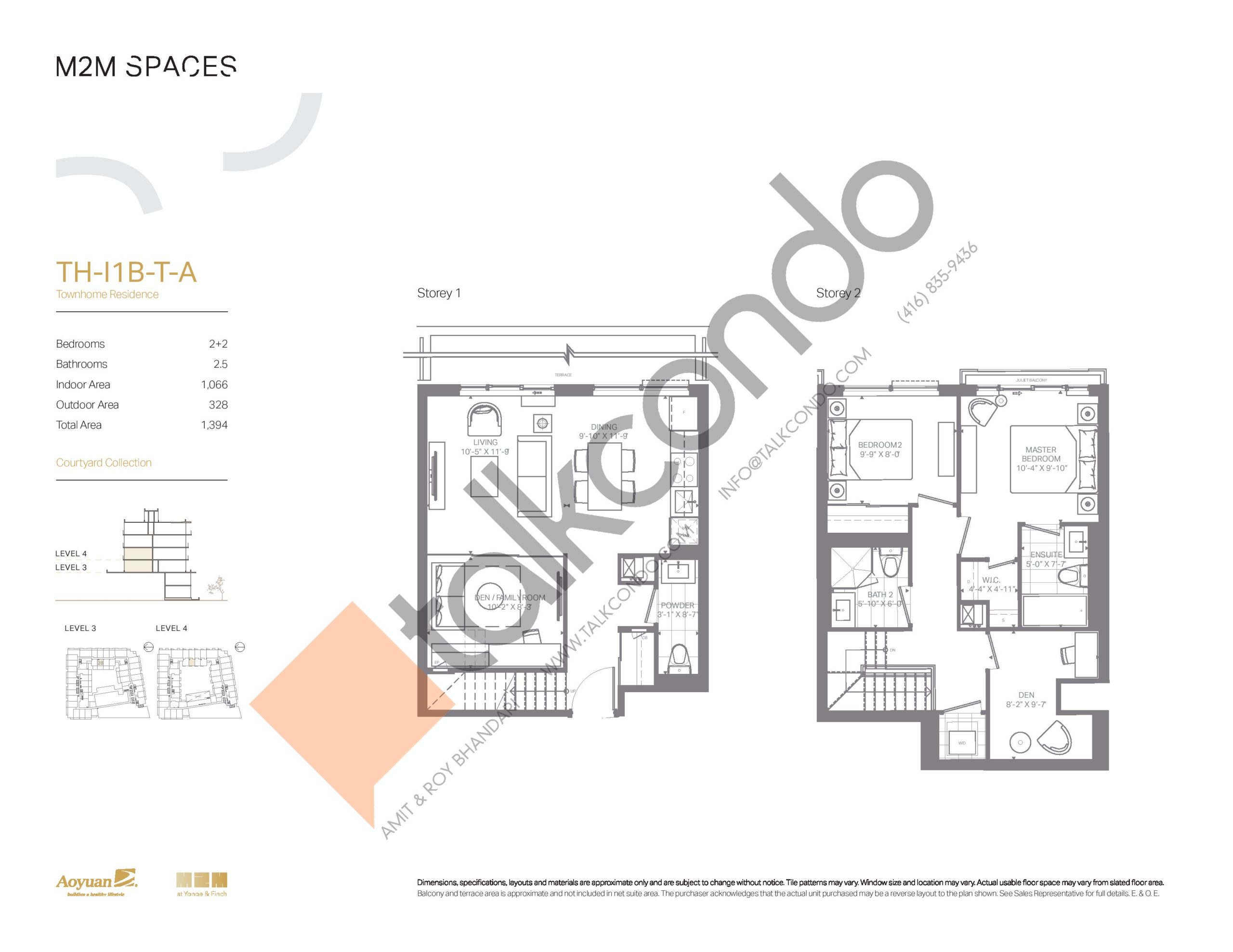 TH-I1B-T-A (Courtyard Collection) Floor Plan at M2M Spaces Condos - 1066 sq.ft