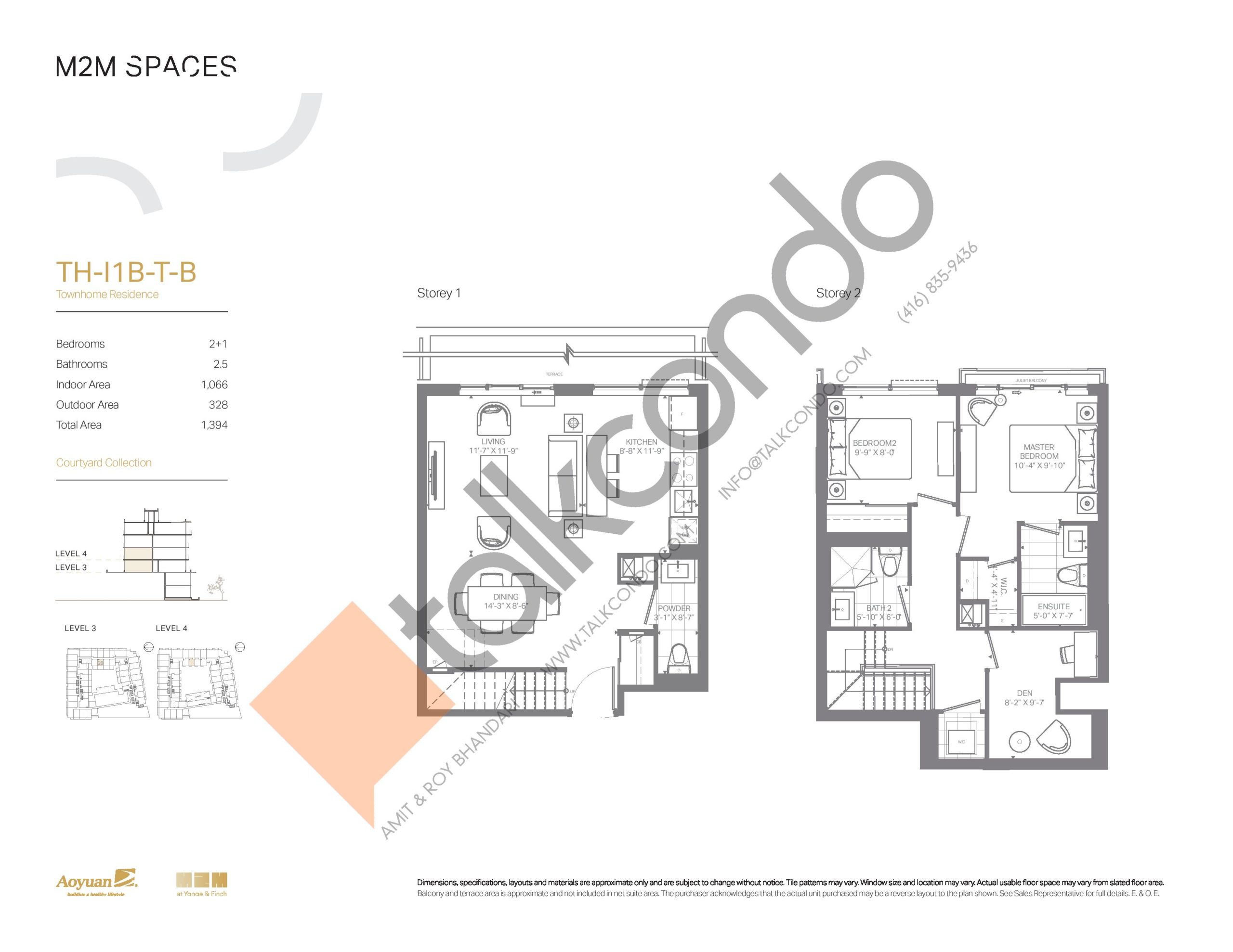 TH-I1B-T-B (Courtyard Collection) Floor Plan at M2M Spaces Condos - 1066 sq.ft