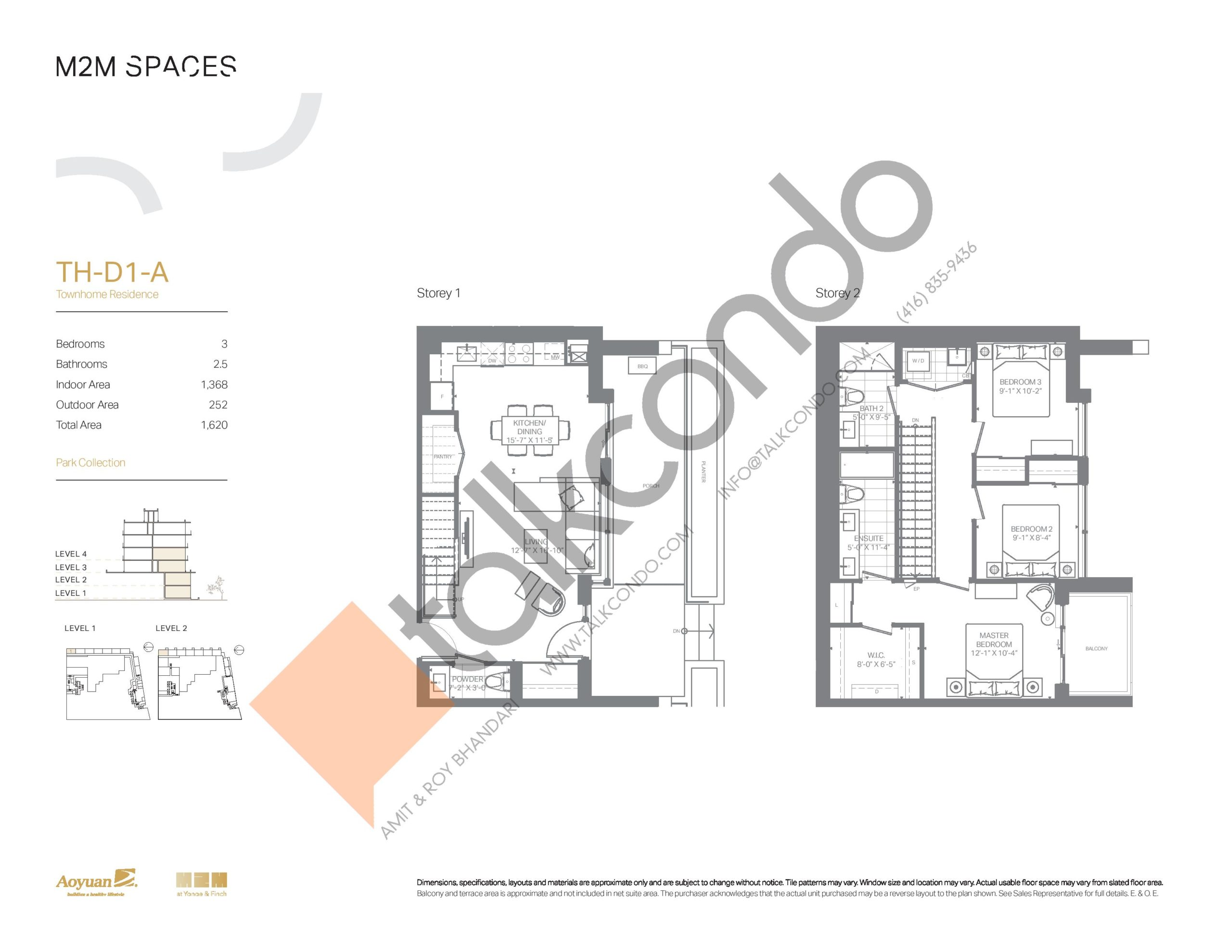 TH-D1-A (Park Collection) Floor Plan at M2M Spaces Condos - 1368 sq.ft