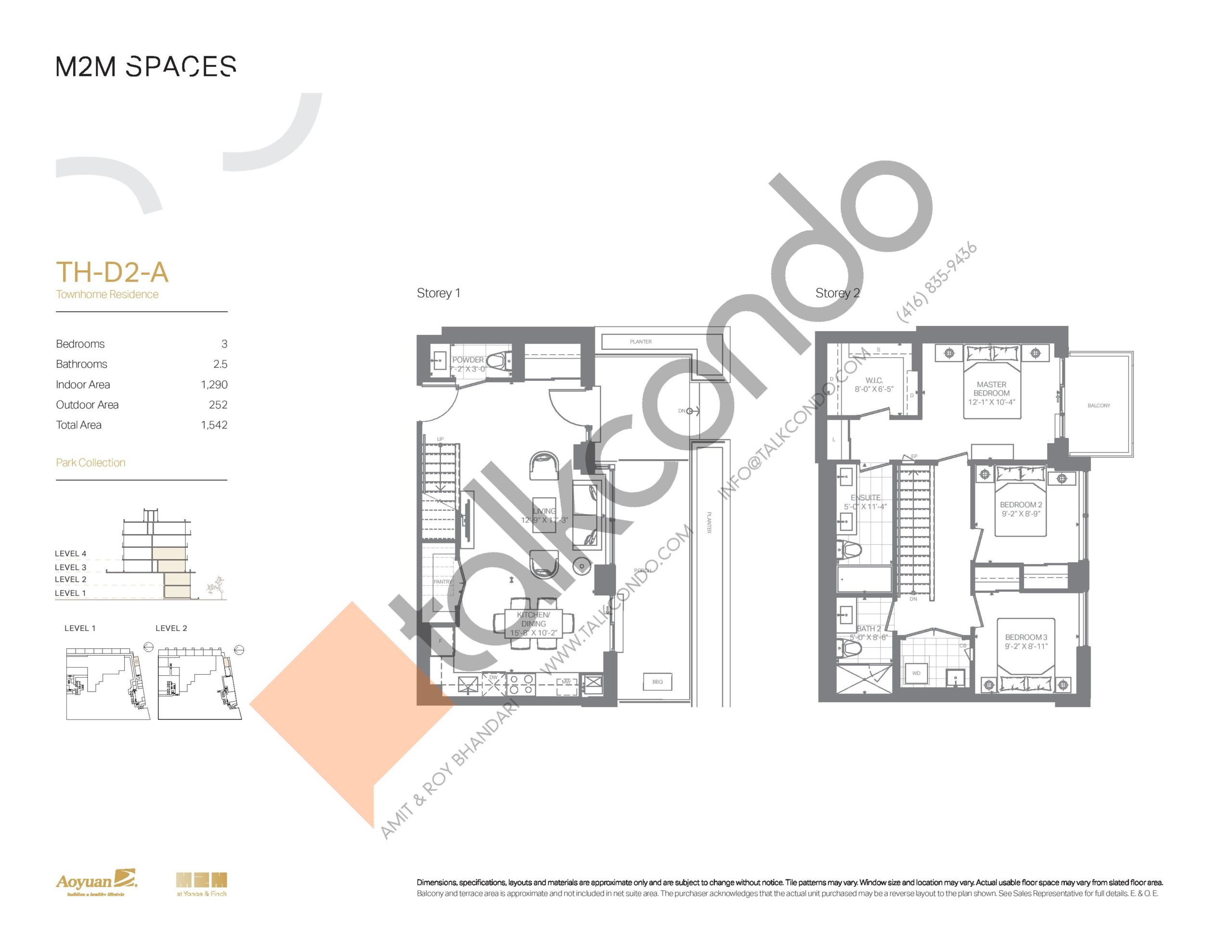 TH-D2-A (Park Collection) Floor Plan at M2M Spaces Condos - 1290 sq.ft