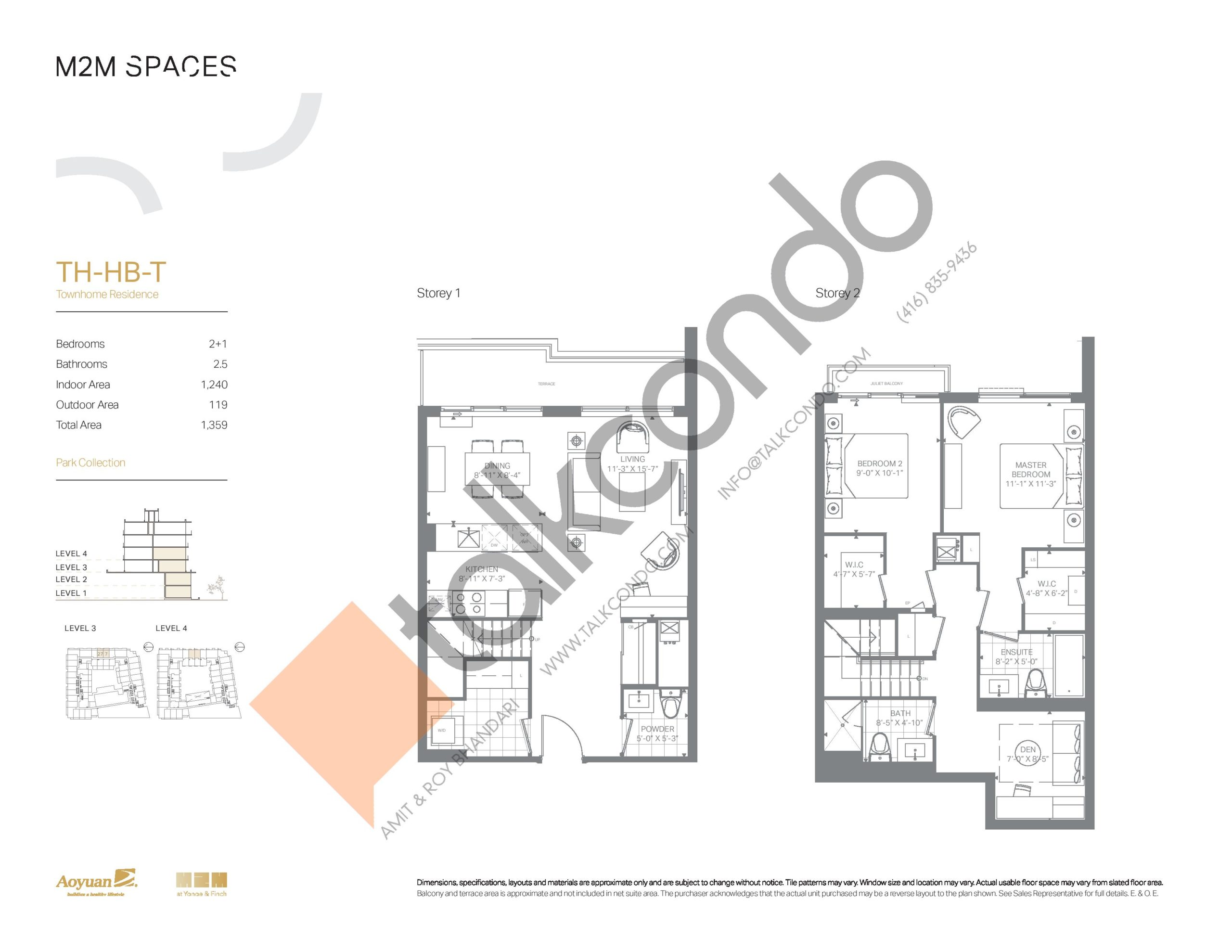 TH-HB-T (Park Collection) Floor Plan at M2M Spaces Condos - 1240 sq.ft