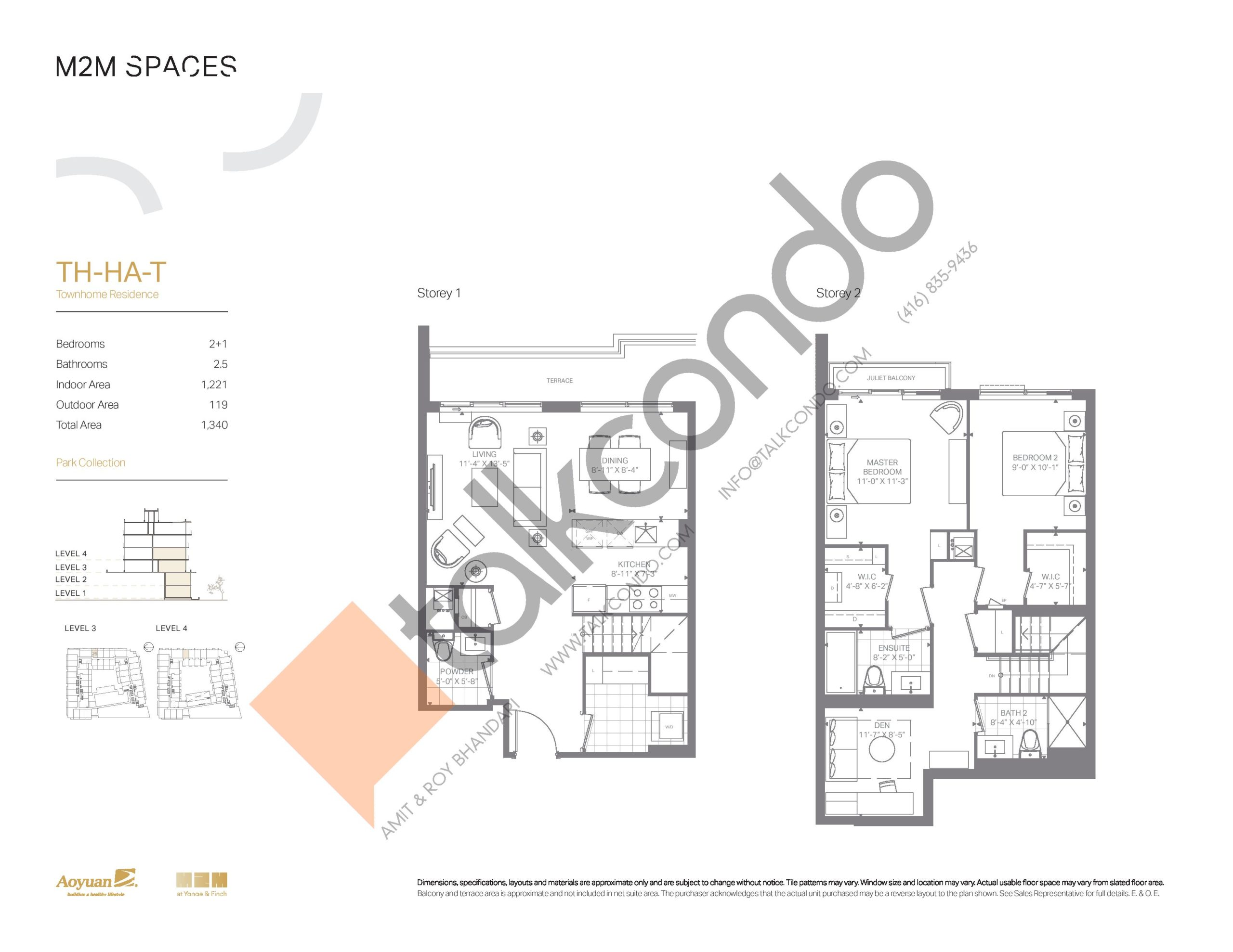 TH-HA-T (Park Collection) Floor Plan at M2M Spaces Condos - 1221 sq.ft
