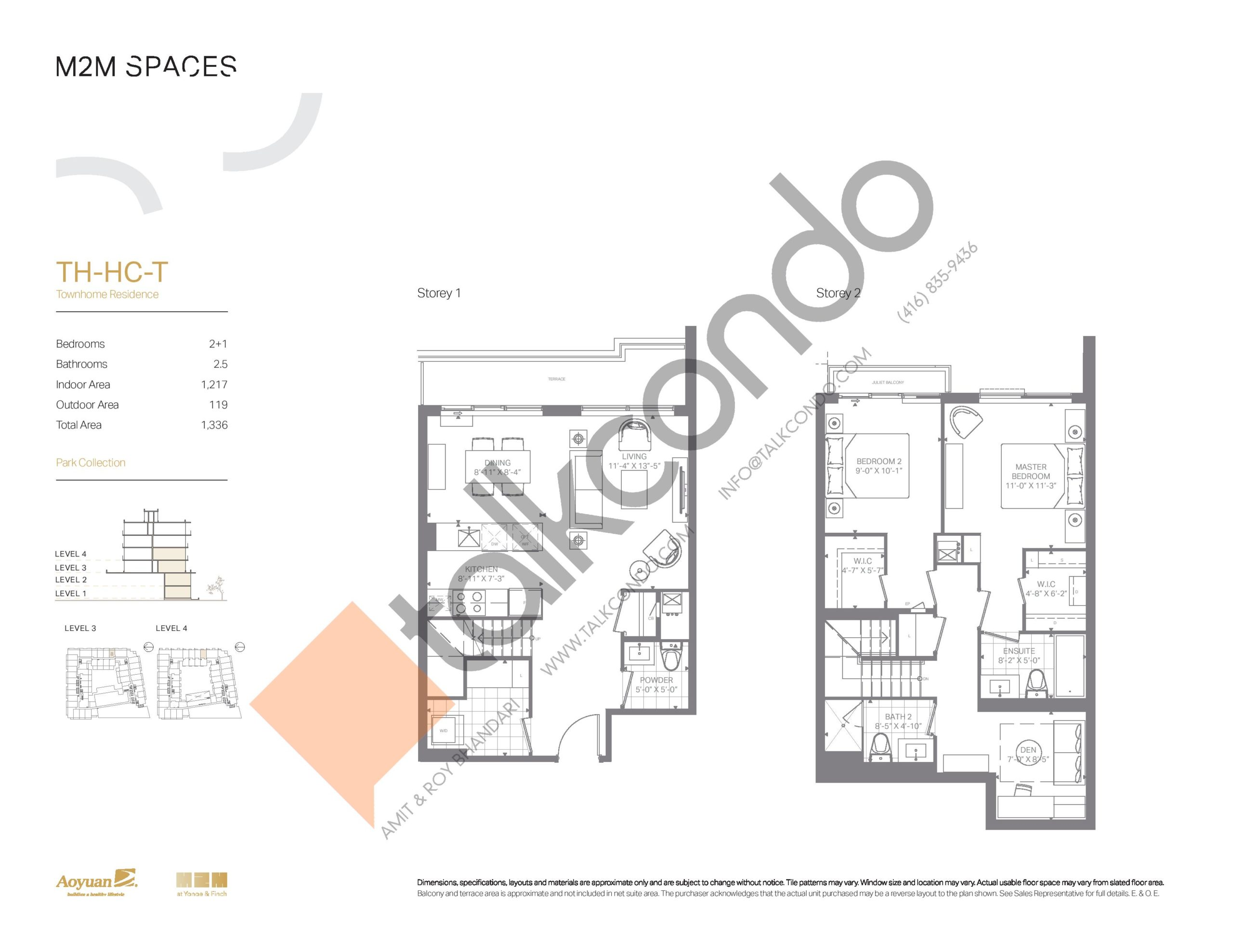TH-HC-T (Park Collection) Floor Plan at M2M Spaces Condos - 1217 sq.ft